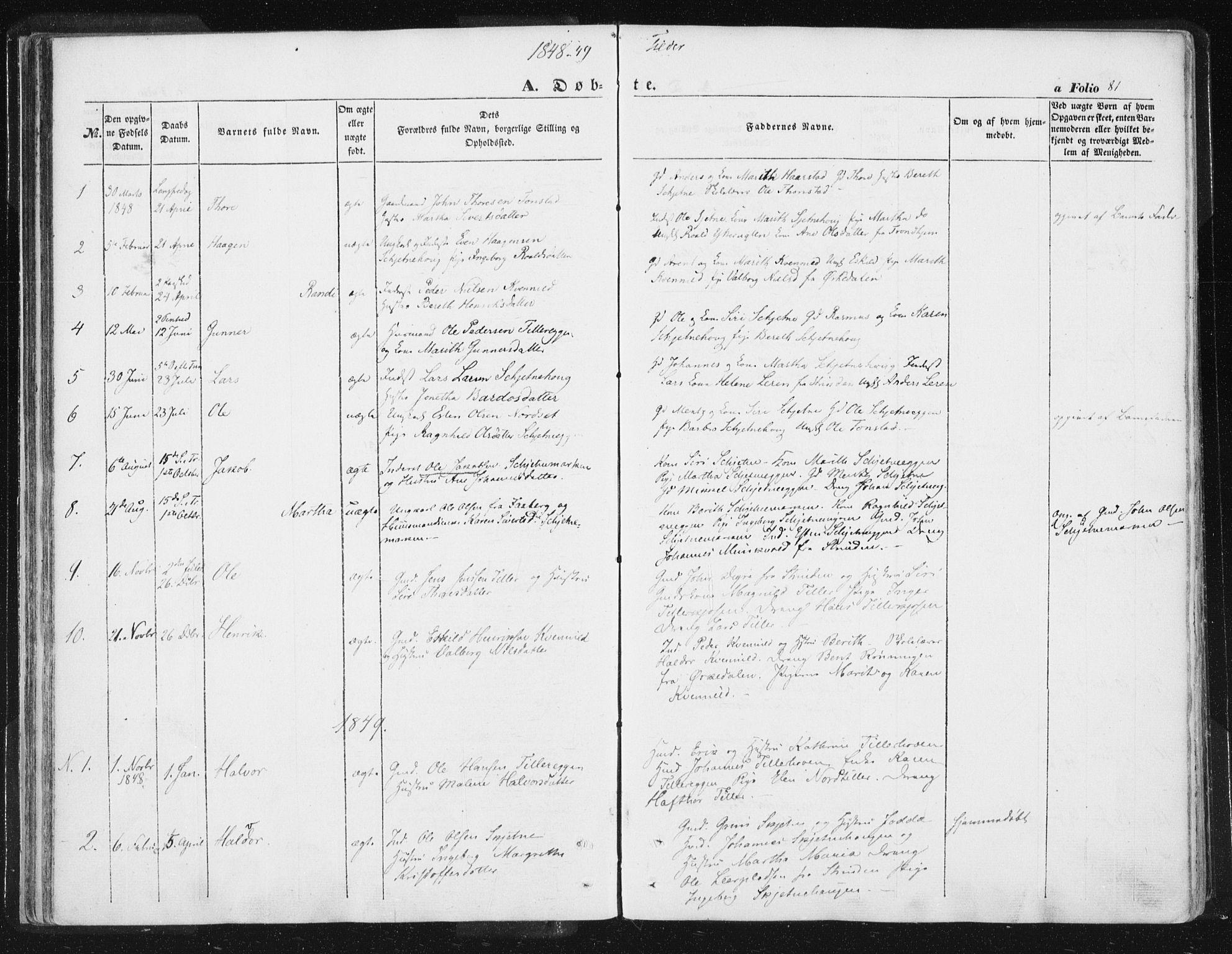 SAT, Ministerialprotokoller, klokkerbøker og fødselsregistre - Sør-Trøndelag, 618/L0441: Ministerialbok nr. 618A05, 1843-1862, s. 81
