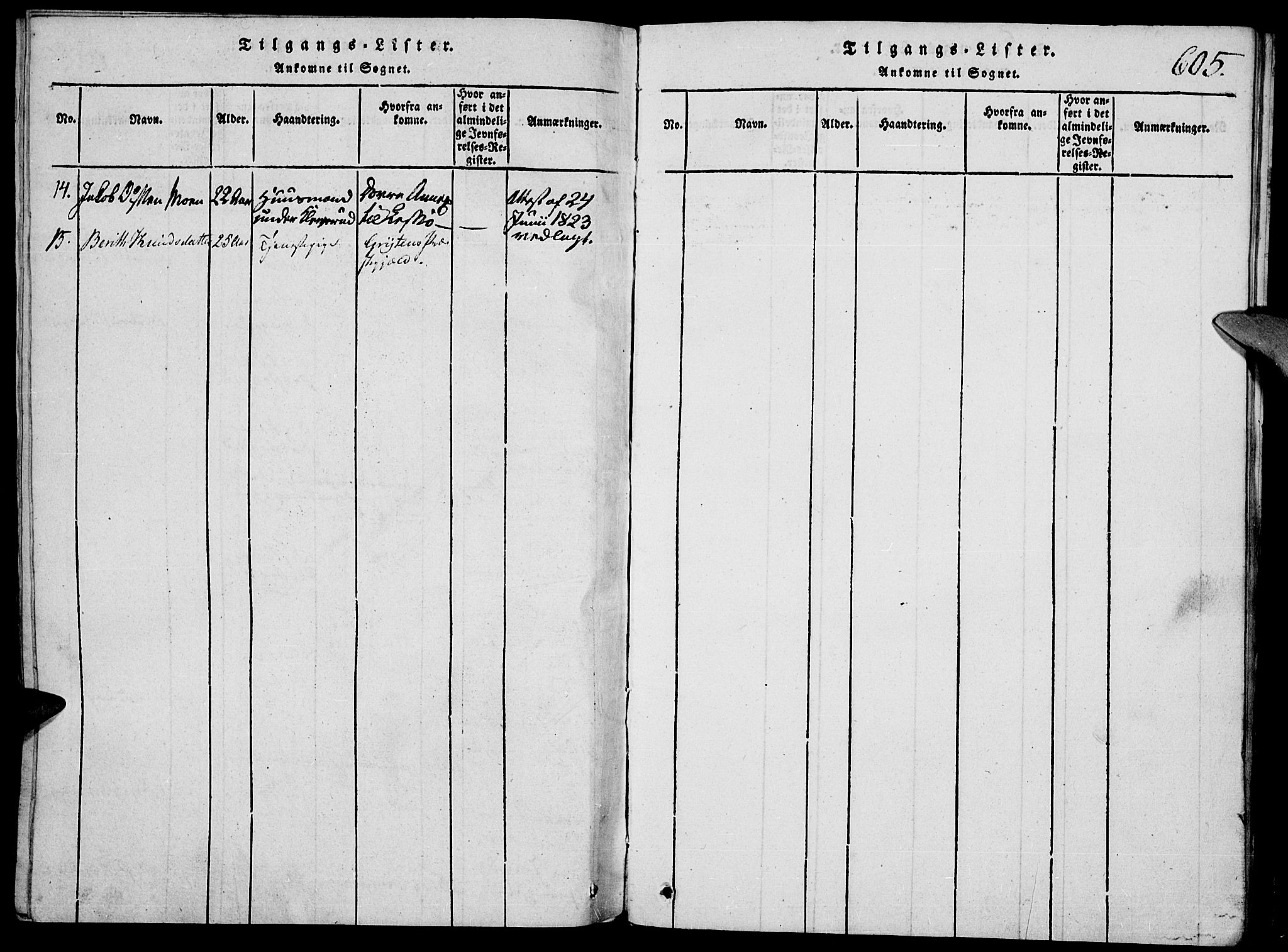 SAH, Vågå prestekontor, Klokkerbok nr. 1, 1815-1827, s. 604-605