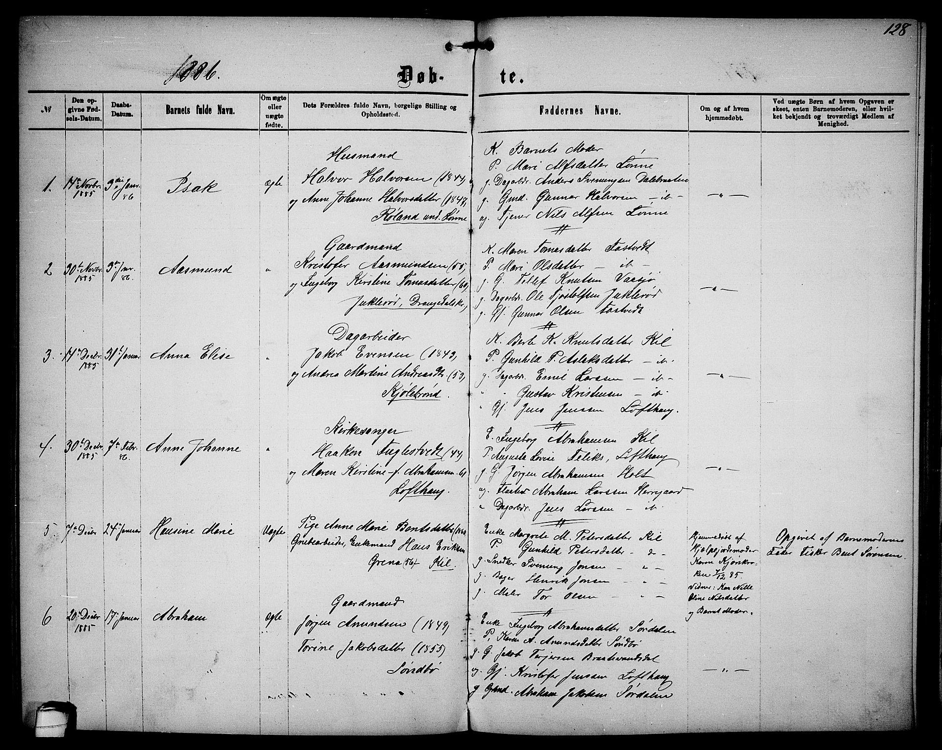 SAKO, Sannidal kirkebøker, G/Ga/L0002: Klokkerbok nr. 2, 1875-1886, s. 128