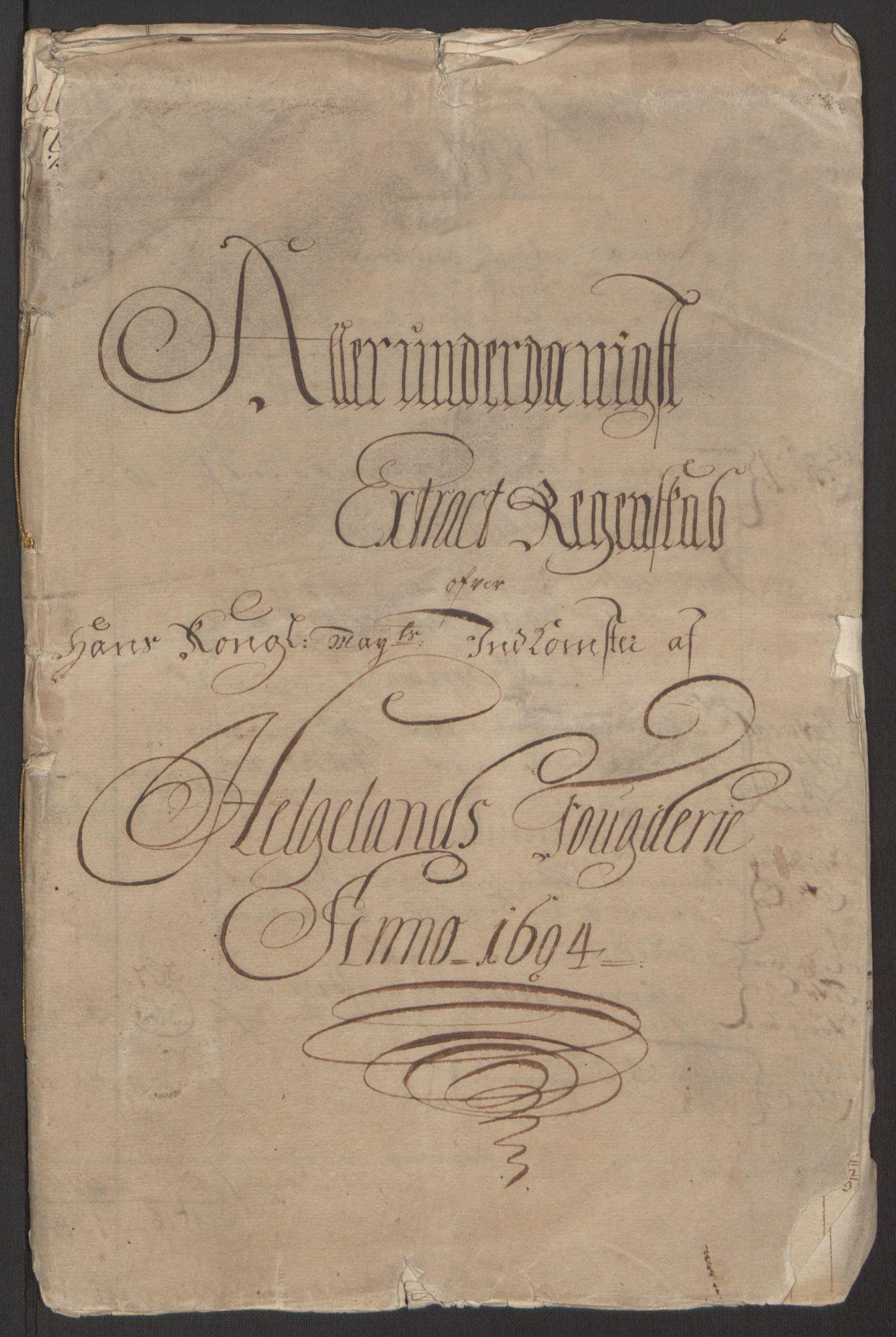 RA, Rentekammeret inntil 1814, Reviderte regnskaper, Fogderegnskap, R65/L4505: Fogderegnskap Helgeland, 1693-1696, s. 152