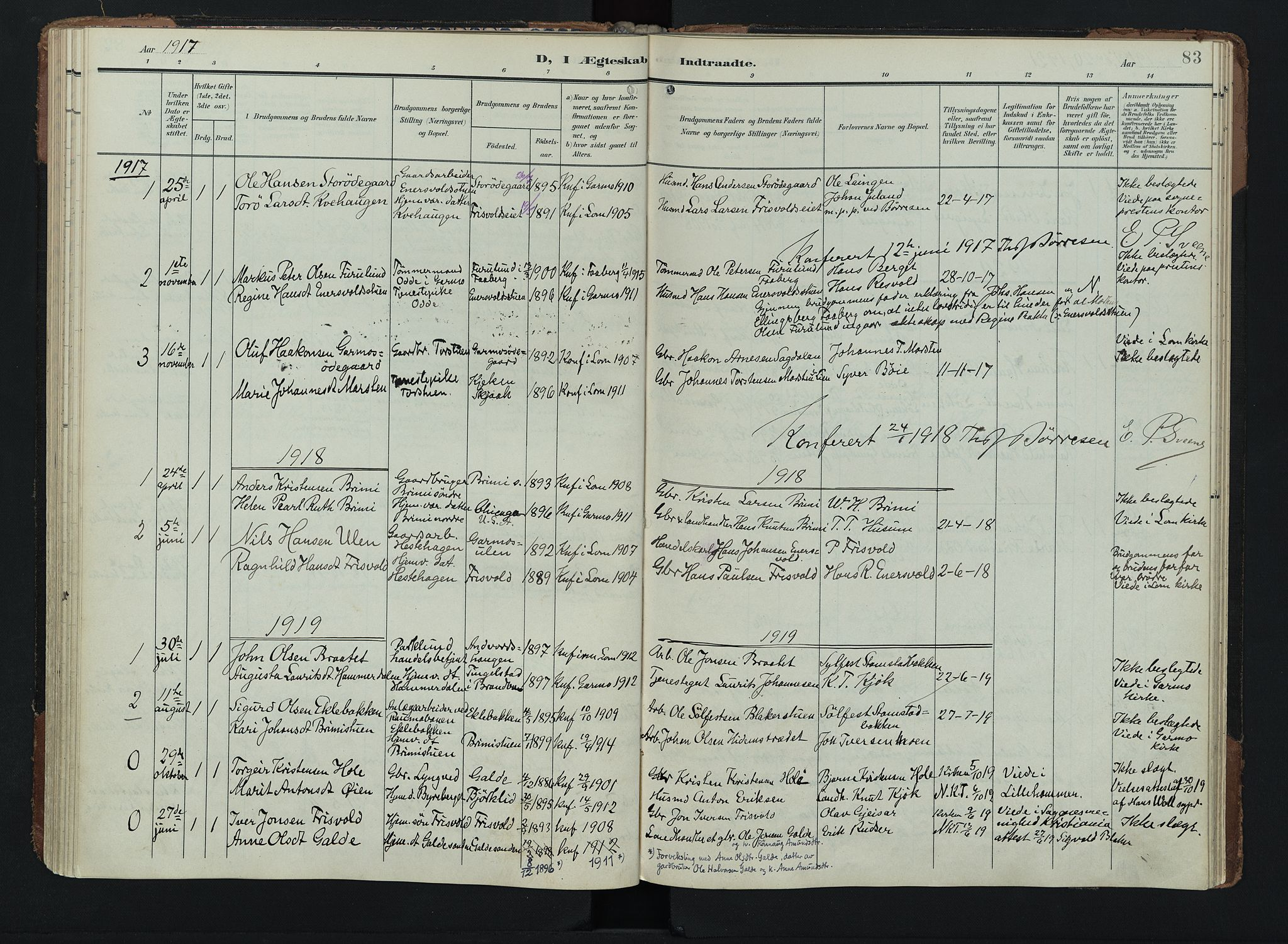 SAH, Lom prestekontor, K/L0011: Ministerialbok nr. 11, 1904-1928, s. 83