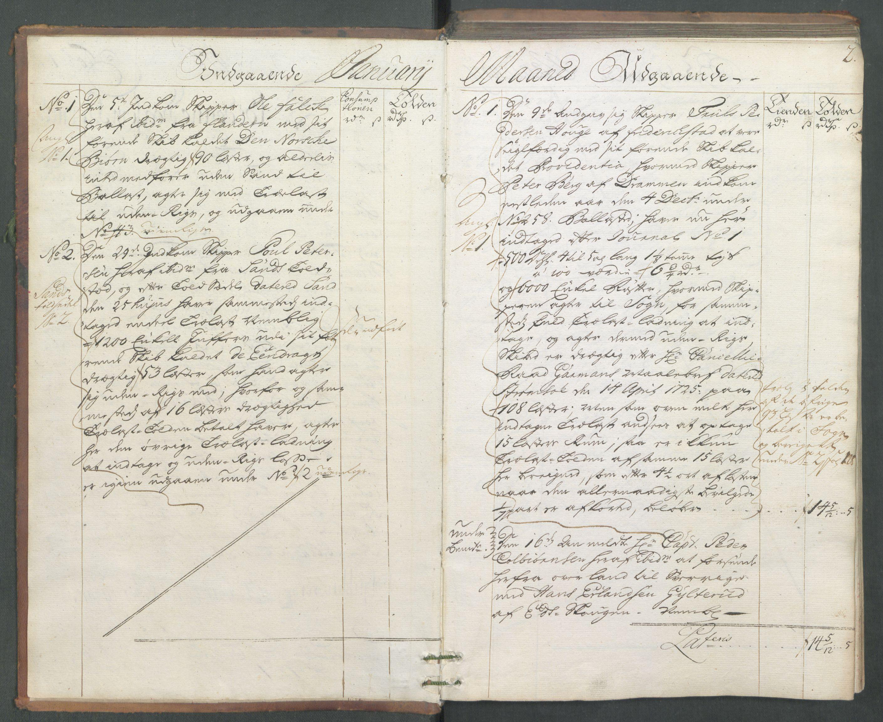 RA, Generaltollkammeret, tollregnskaper, R01/L0006: Tollregnskaper Fredrikshald, 1731, s. 2