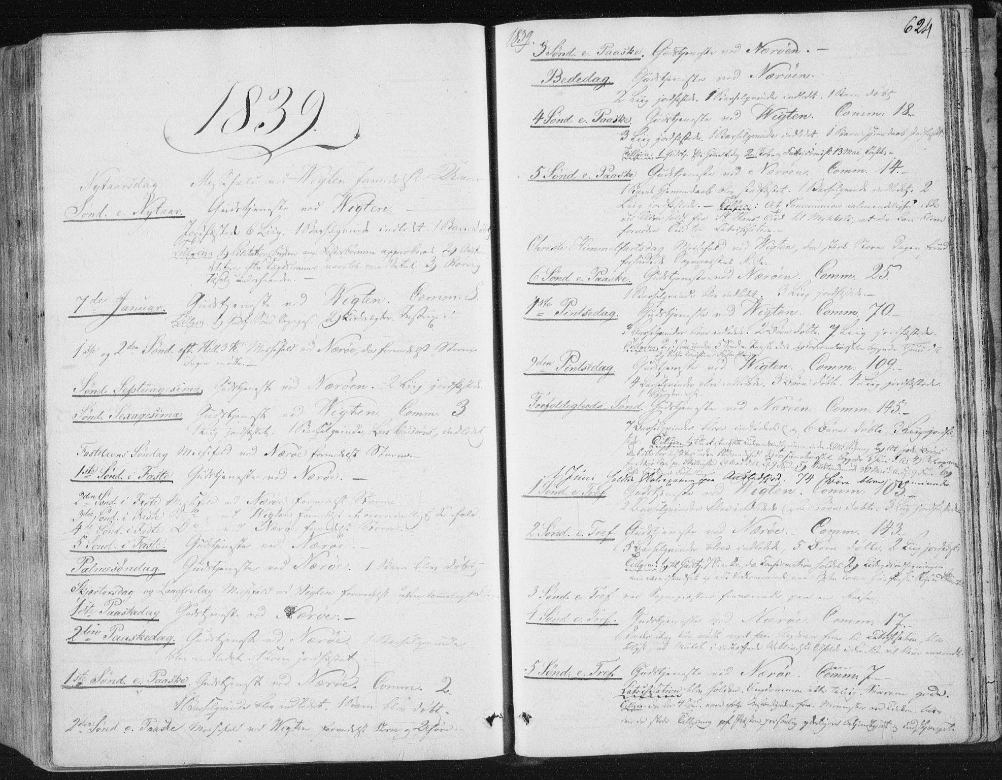 SAT, Ministerialprotokoller, klokkerbøker og fødselsregistre - Nord-Trøndelag, 784/L0669: Ministerialbok nr. 784A04, 1829-1859, s. 624