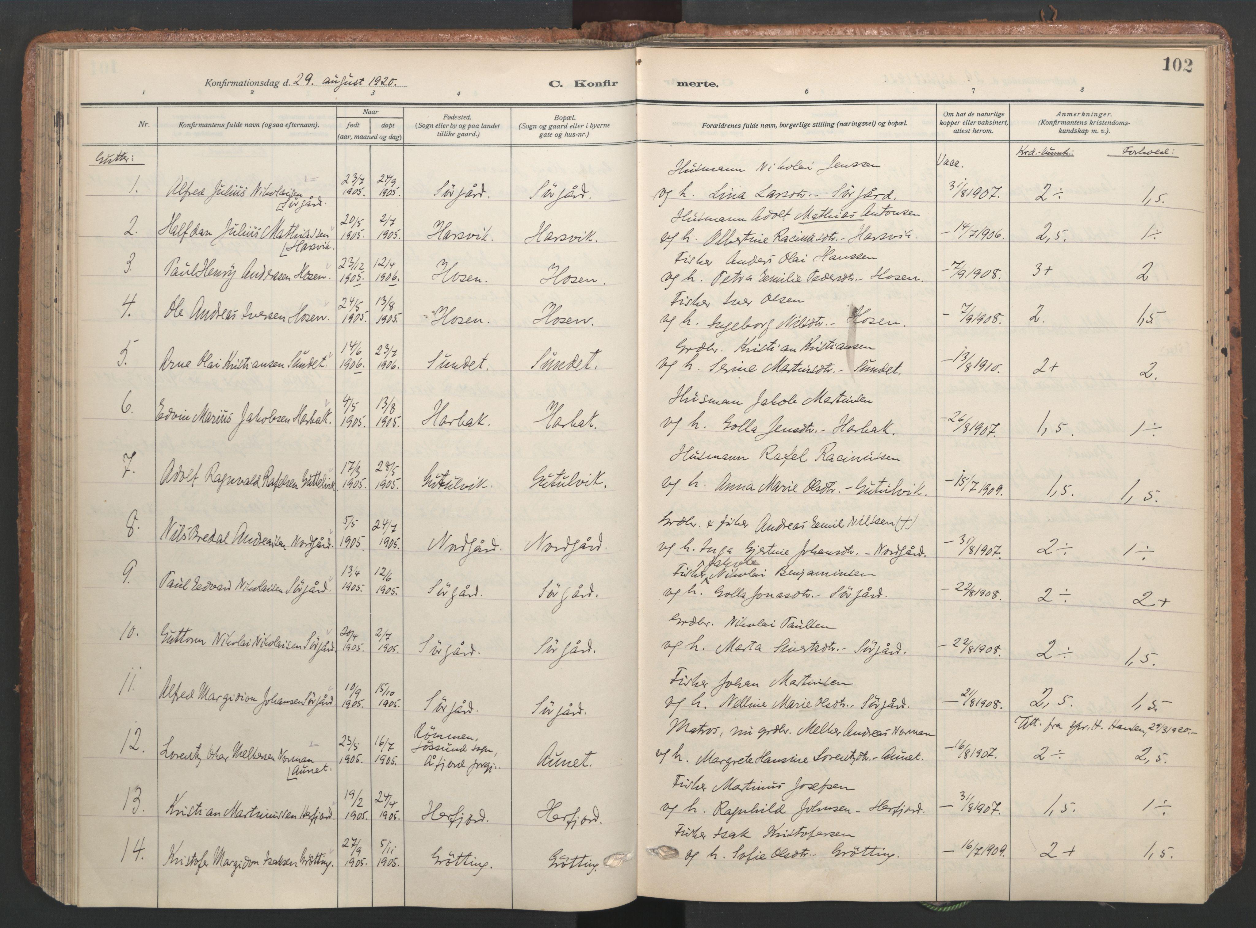 SAT, Ministerialprotokoller, klokkerbøker og fødselsregistre - Sør-Trøndelag, 656/L0694: Ministerialbok nr. 656A03, 1914-1931, s. 102