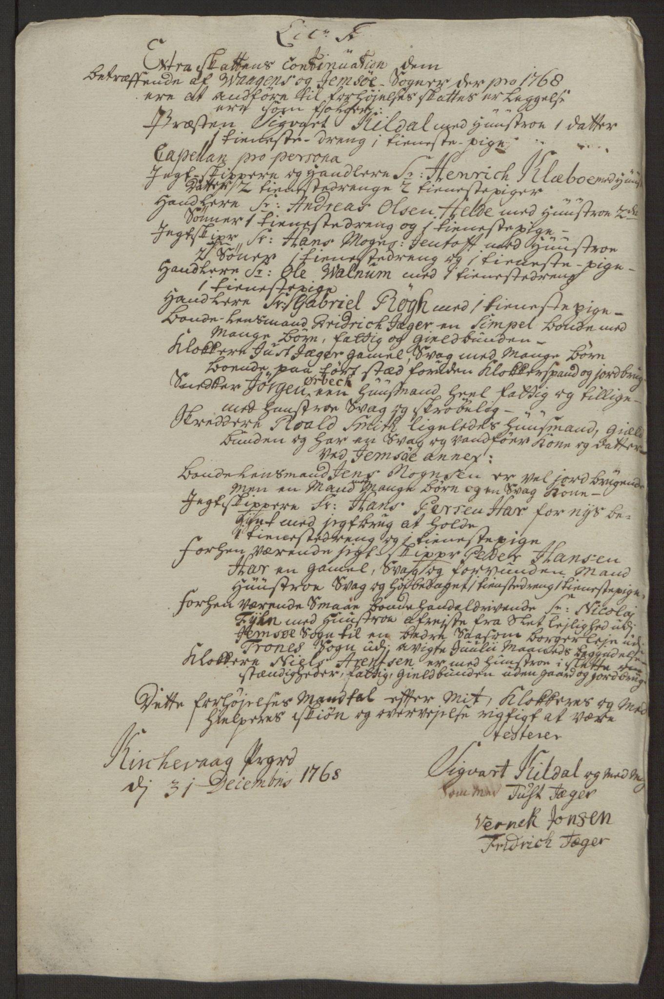 RA, Rentekammeret inntil 1814, Realistisk ordnet avdeling, Ol/L0022a: [Gg 10]: Ekstraskatten, 23.09.1762. Nordlands amt, 1763-1769, s. 210