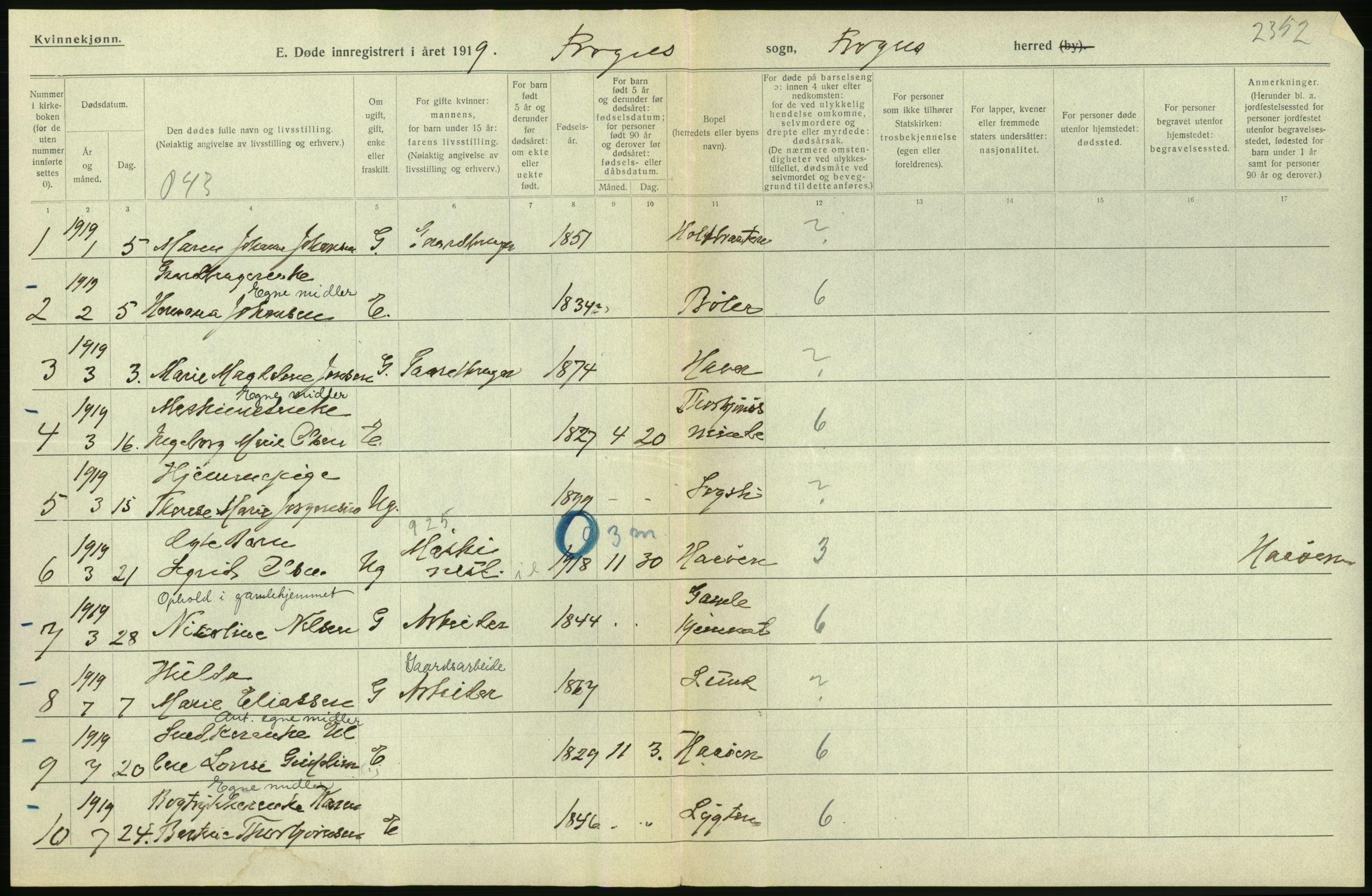 RA, Statistisk sentralbyrå, Sosiodemografiske emner, Befolkning, D/Df/Dfb/Dfbi/L0006: Akershus fylke: Døde. Bygder og byer., 1919, s. 2