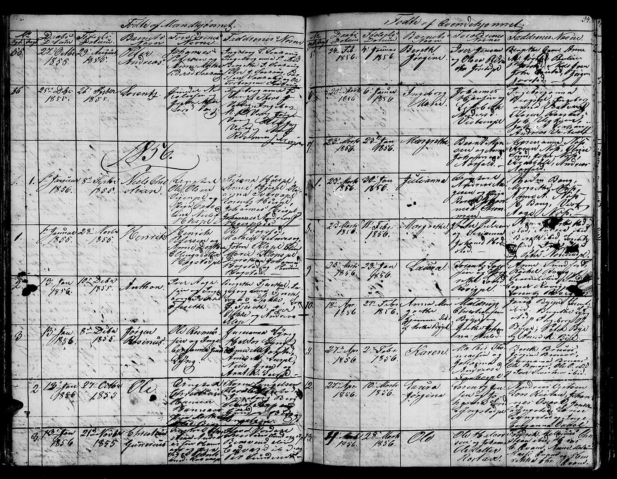 SAT, Ministerialprotokoller, klokkerbøker og fødselsregistre - Nord-Trøndelag, 730/L0299: Klokkerbok nr. 730C02, 1849-1871, s. 34