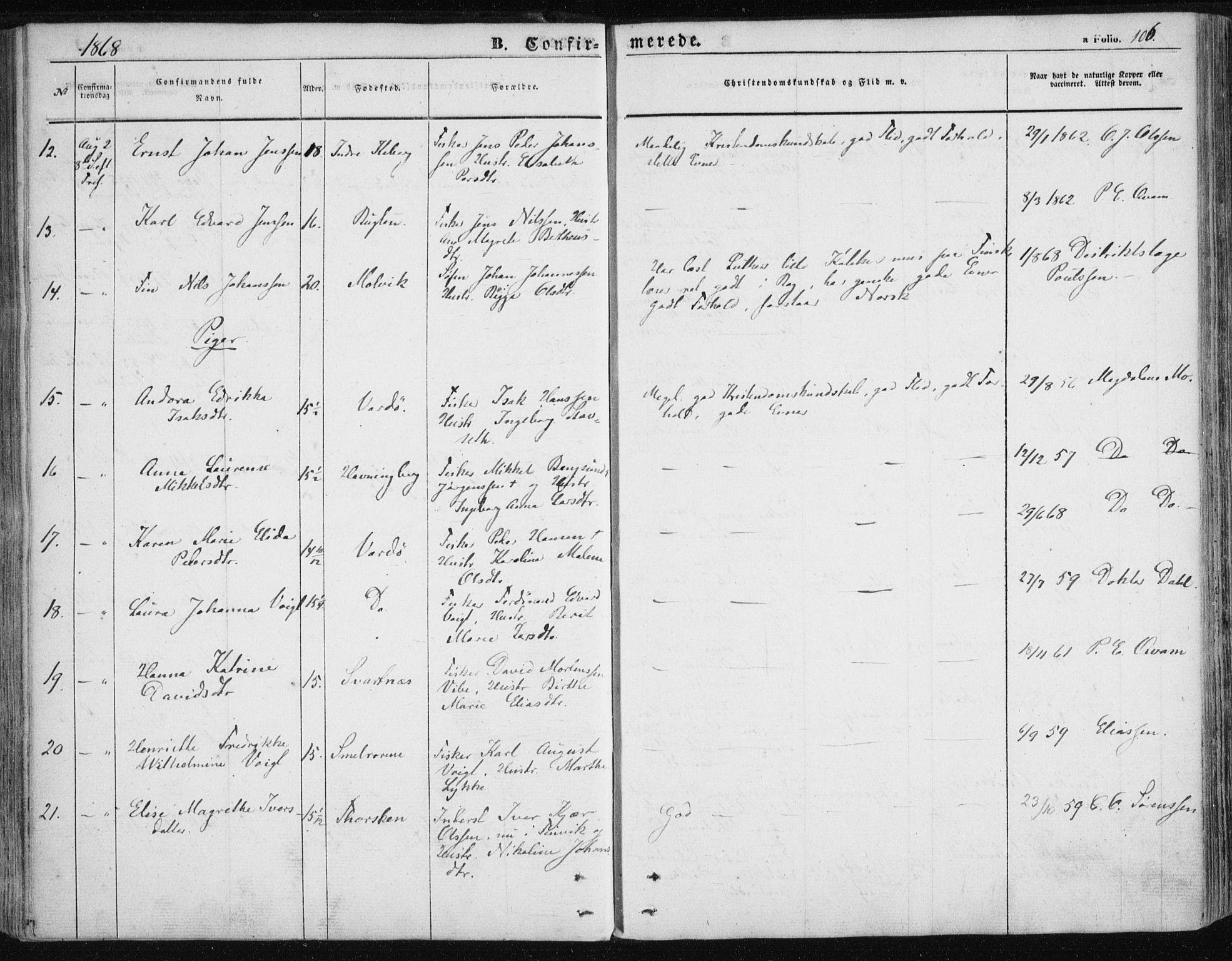 SATØ, Vardø sokneprestkontor, H/Ha/L0004kirke: Ministerialbok nr. 4, 1862-1871, s. 106