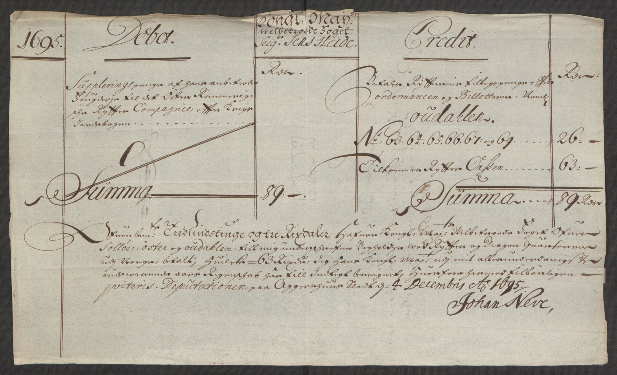 RA, Rentekammeret inntil 1814, Reviderte regnskaper, Fogderegnskap, R13/L0833: Fogderegnskap Solør, Odal og Østerdal, 1695, s. 292