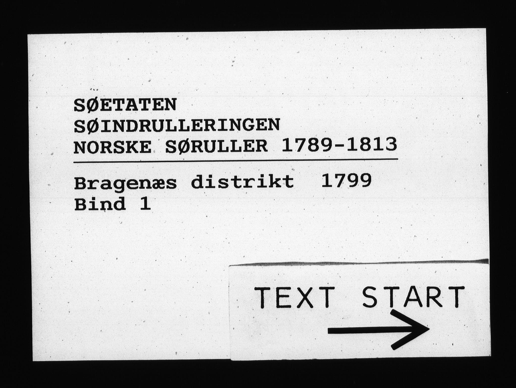 RA, Sjøetaten, F/L0125: Bragernes distrikt, bind 1, 1799