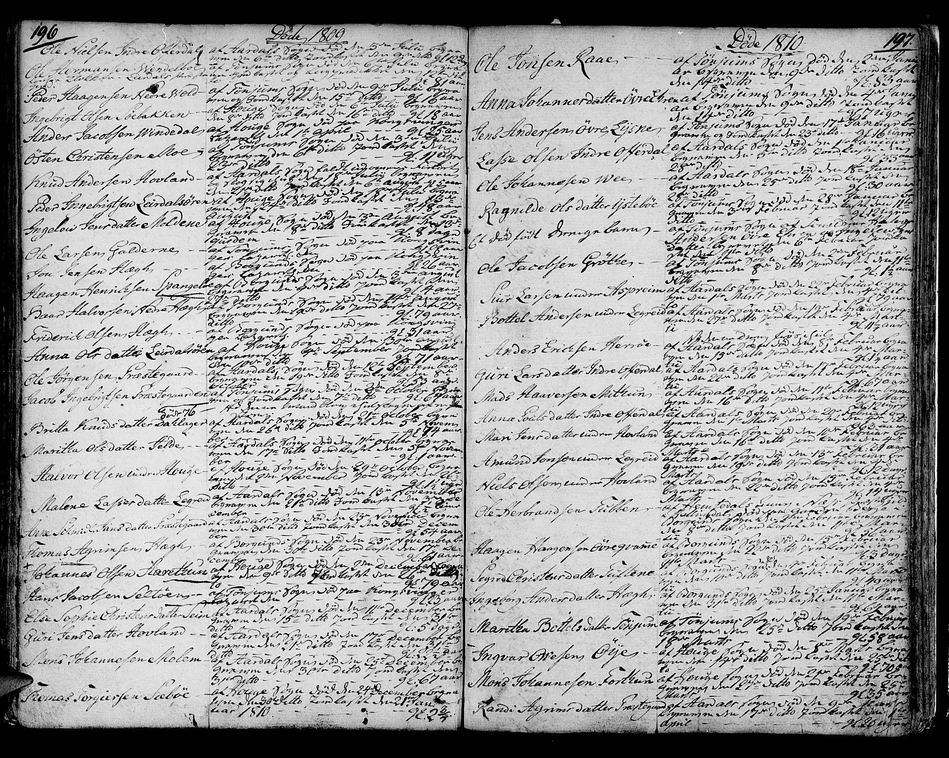 SAB, Lærdal sokneprestembete, Ministerialbok nr. A 4, 1805-1821, s. 196-197