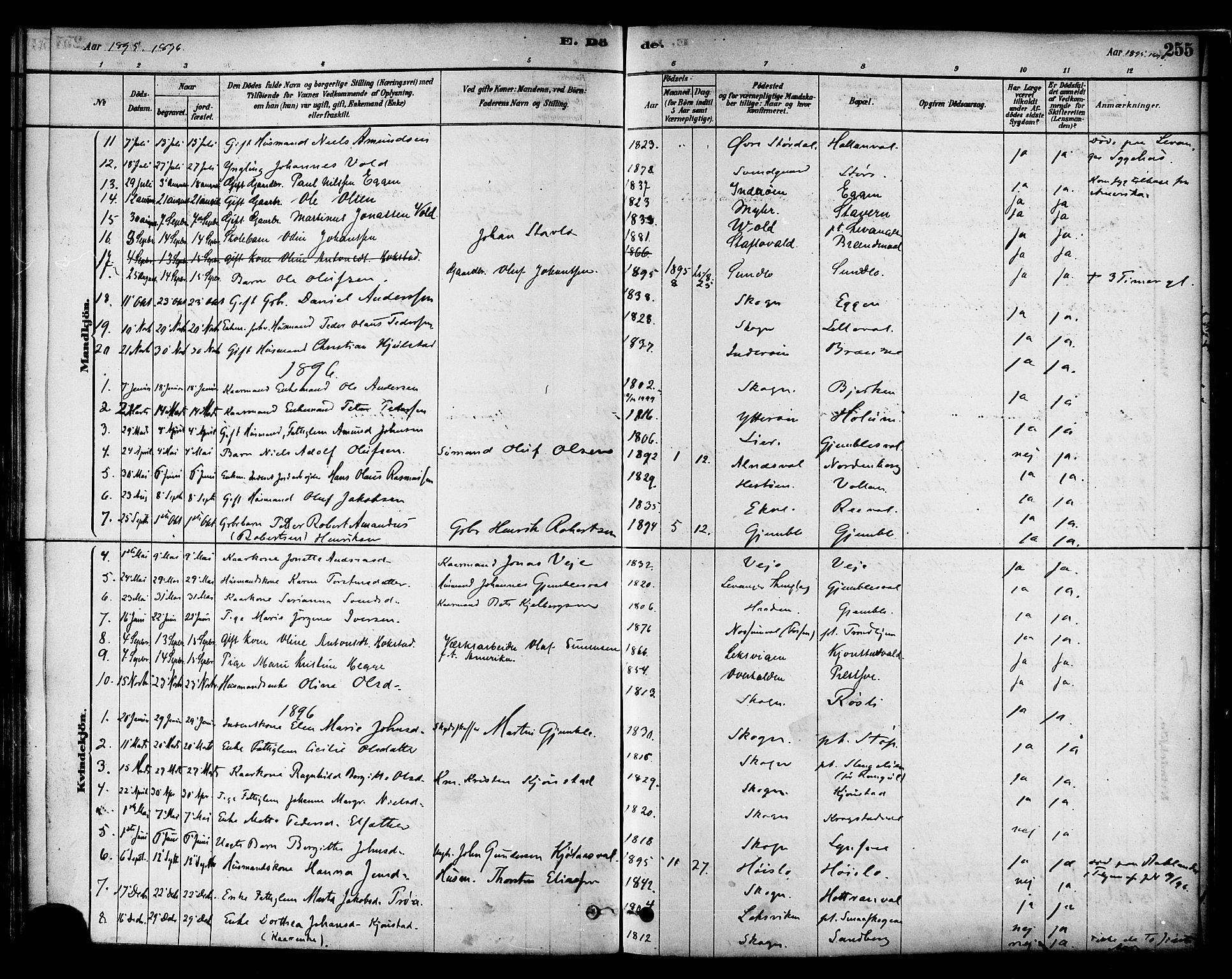 SAT, Ministerialprotokoller, klokkerbøker og fødselsregistre - Nord-Trøndelag, 717/L0159: Ministerialbok nr. 717A09, 1878-1898, s. 255
