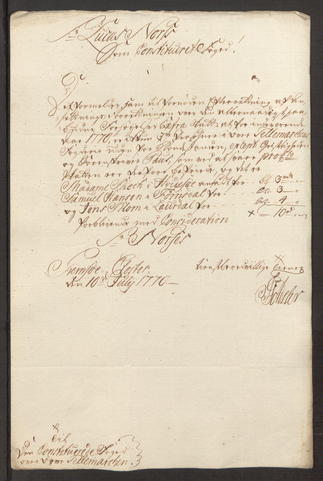 RA, Rentekammeret inntil 1814, Reviderte regnskaper, Fogderegnskap, R38/L2293: Ekstraskatten Øvre Telemark, 1762-1770, s. 506