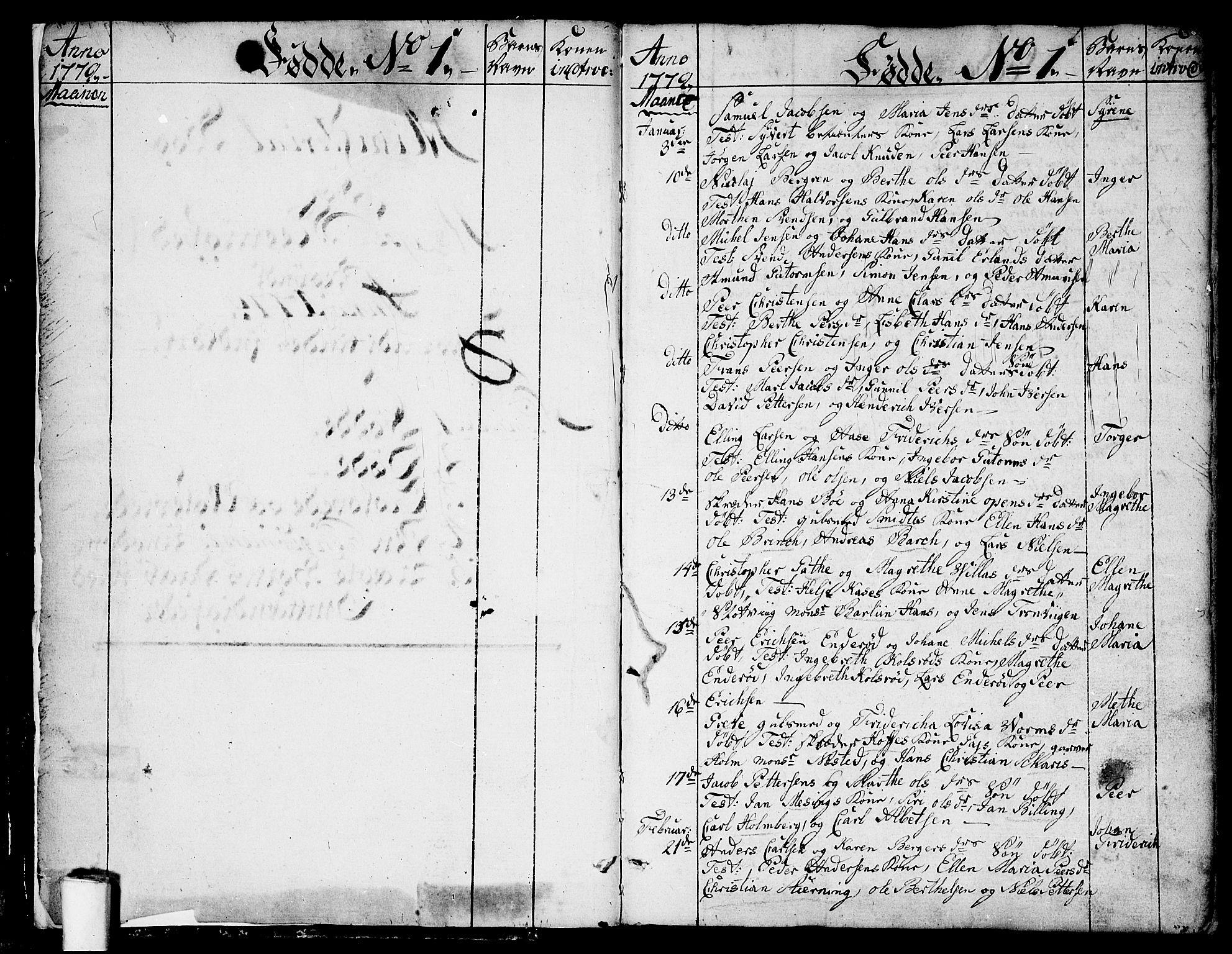 SAO, Moss prestekontor Kirkebøker, F/Fa/Faa/L0003: Ministerialbok nr. I 3, 1779-1814, s. 0-1
