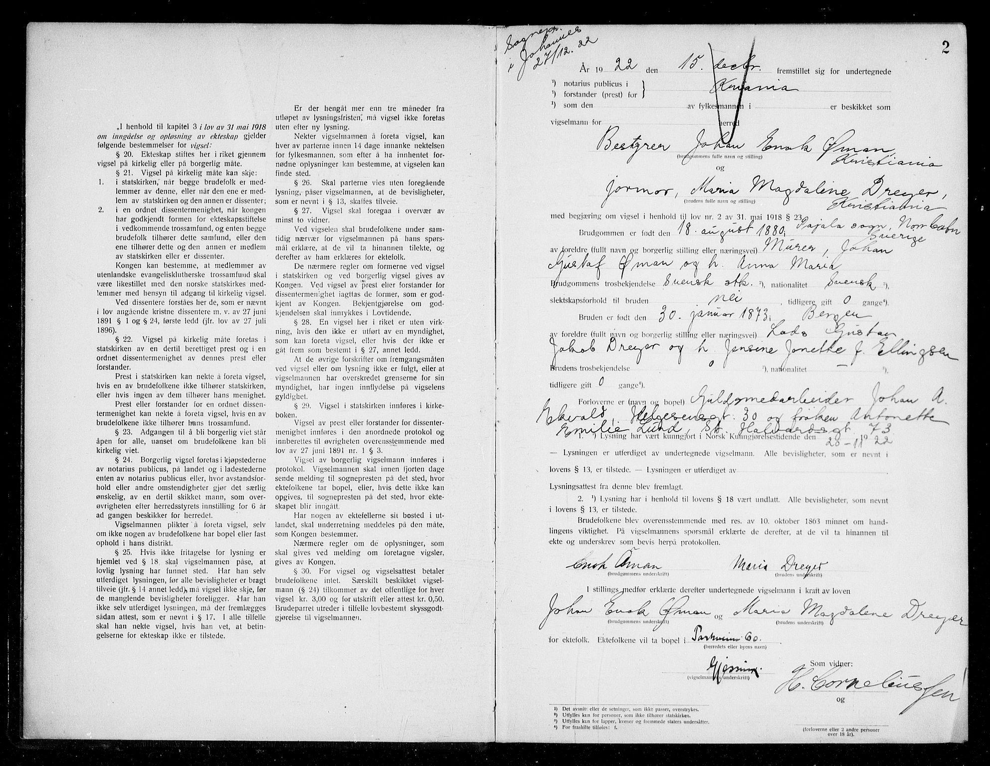SAO, Oslo byfogd avd. I, L/Lb/Lbb/L0016: Notarialprotokoll, rekke II: Vigsler, 1922-1924, s. 1b-2a
