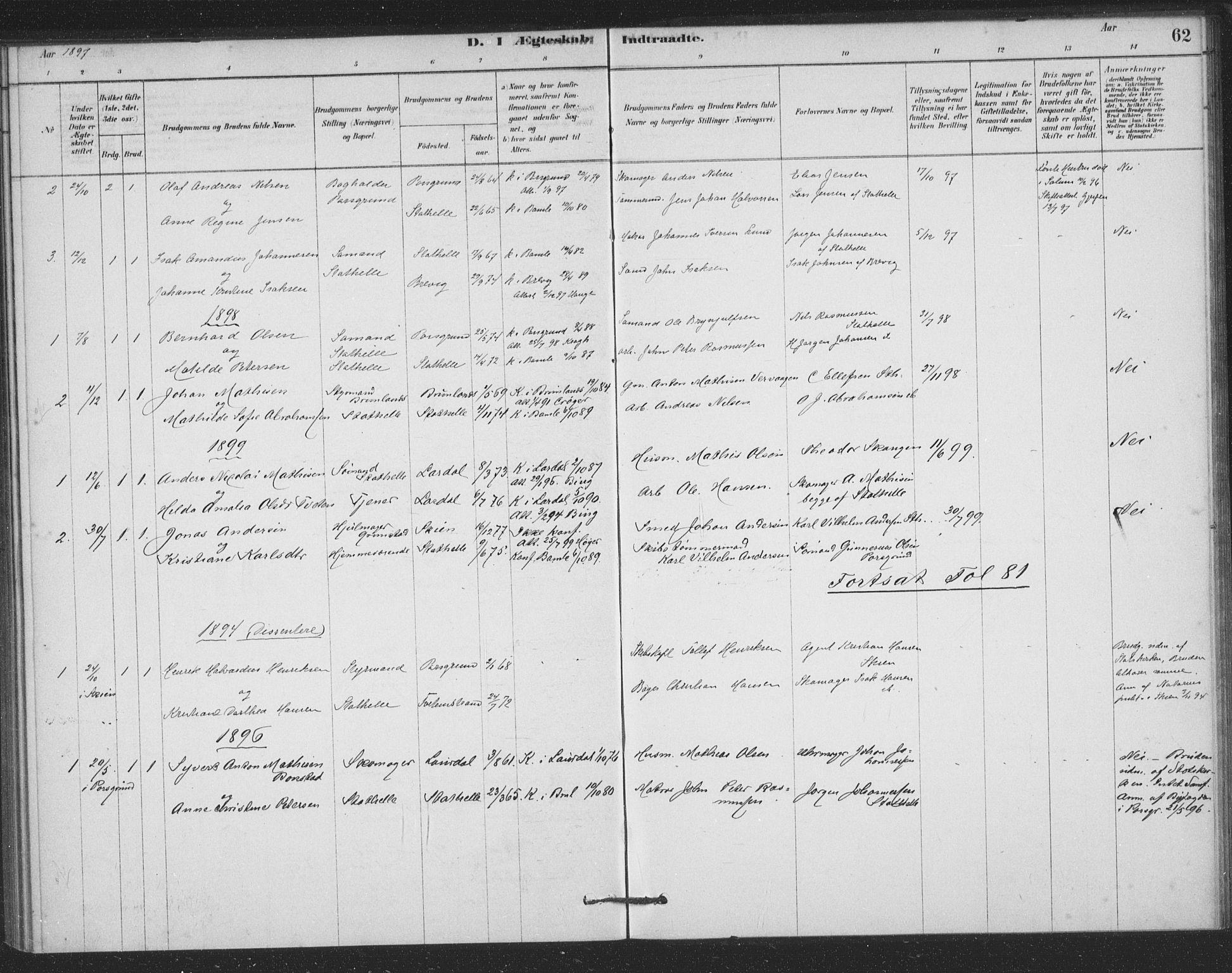 SAKO, Bamble kirkebøker, F/Fb/L0001: Ministerialbok nr. II 1, 1878-1899, s. 62