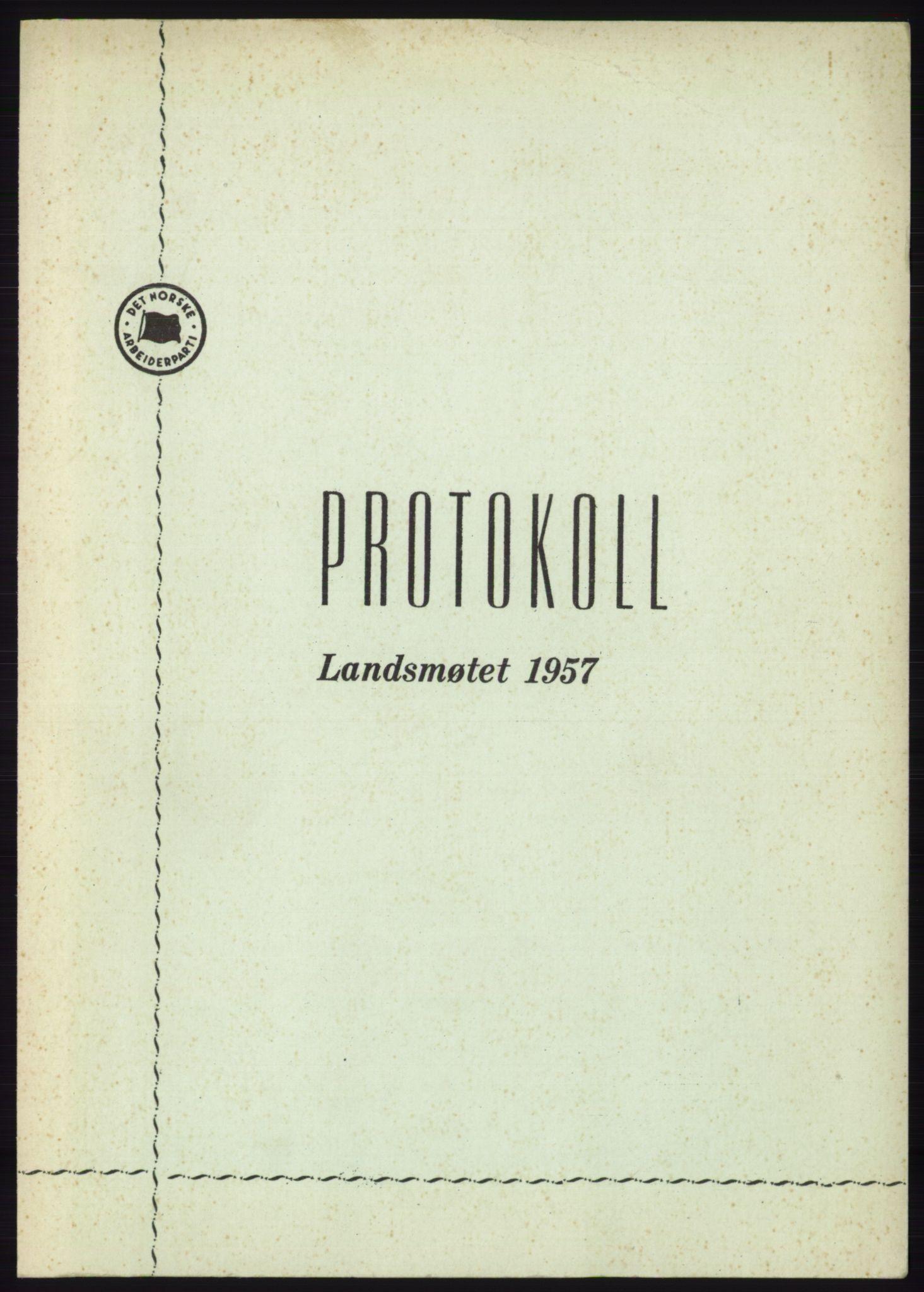 AAB, Det norske Arbeiderparti - publikasjoner, -/-: Protokoll over forhandlingene på det 36. ordinære landsmøte 30.-31. mai og 1. juni 1957 i Oslo, 1957