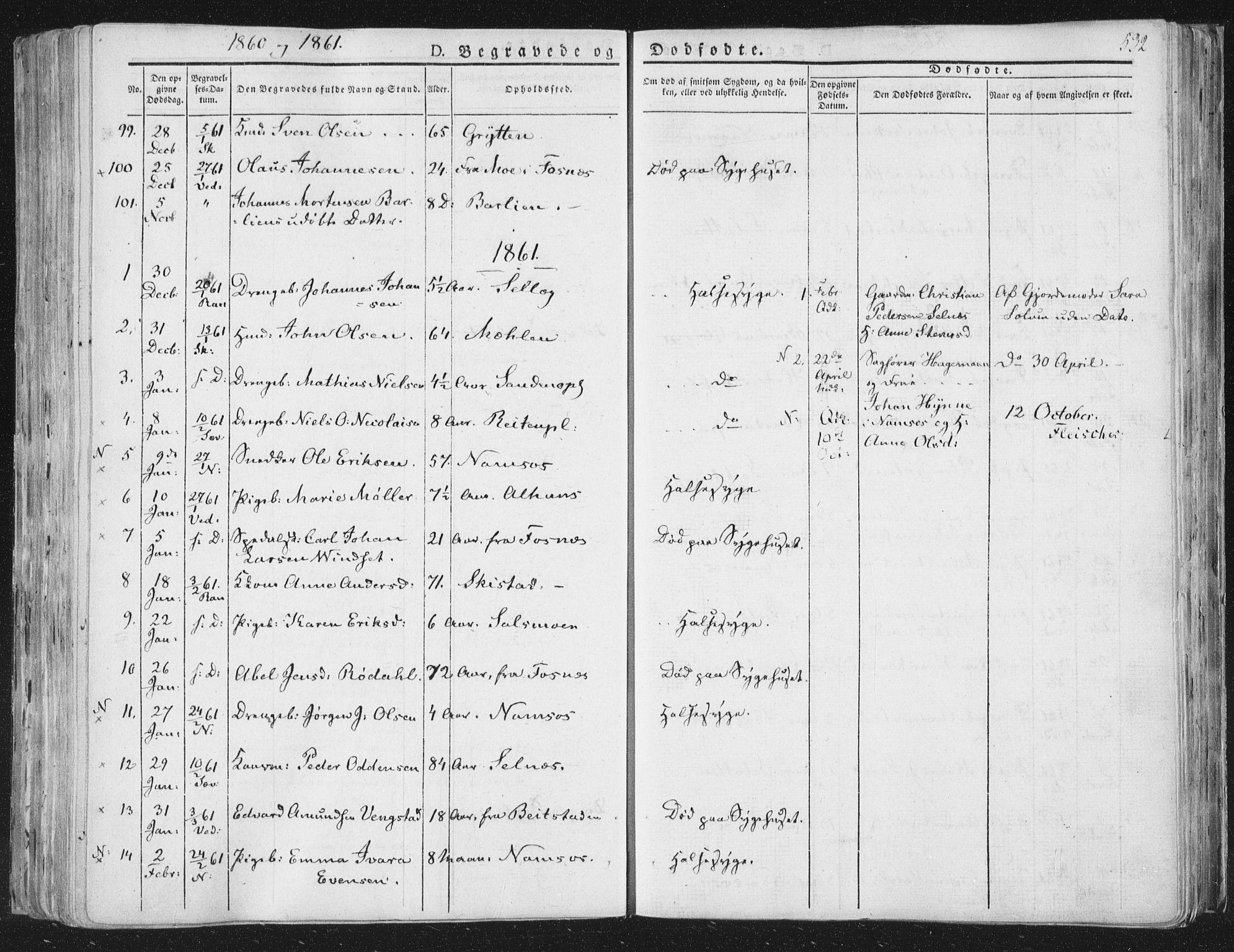 SAT, Ministerialprotokoller, klokkerbøker og fødselsregistre - Nord-Trøndelag, 764/L0552: Ministerialbok nr. 764A07b, 1824-1865, s. 532