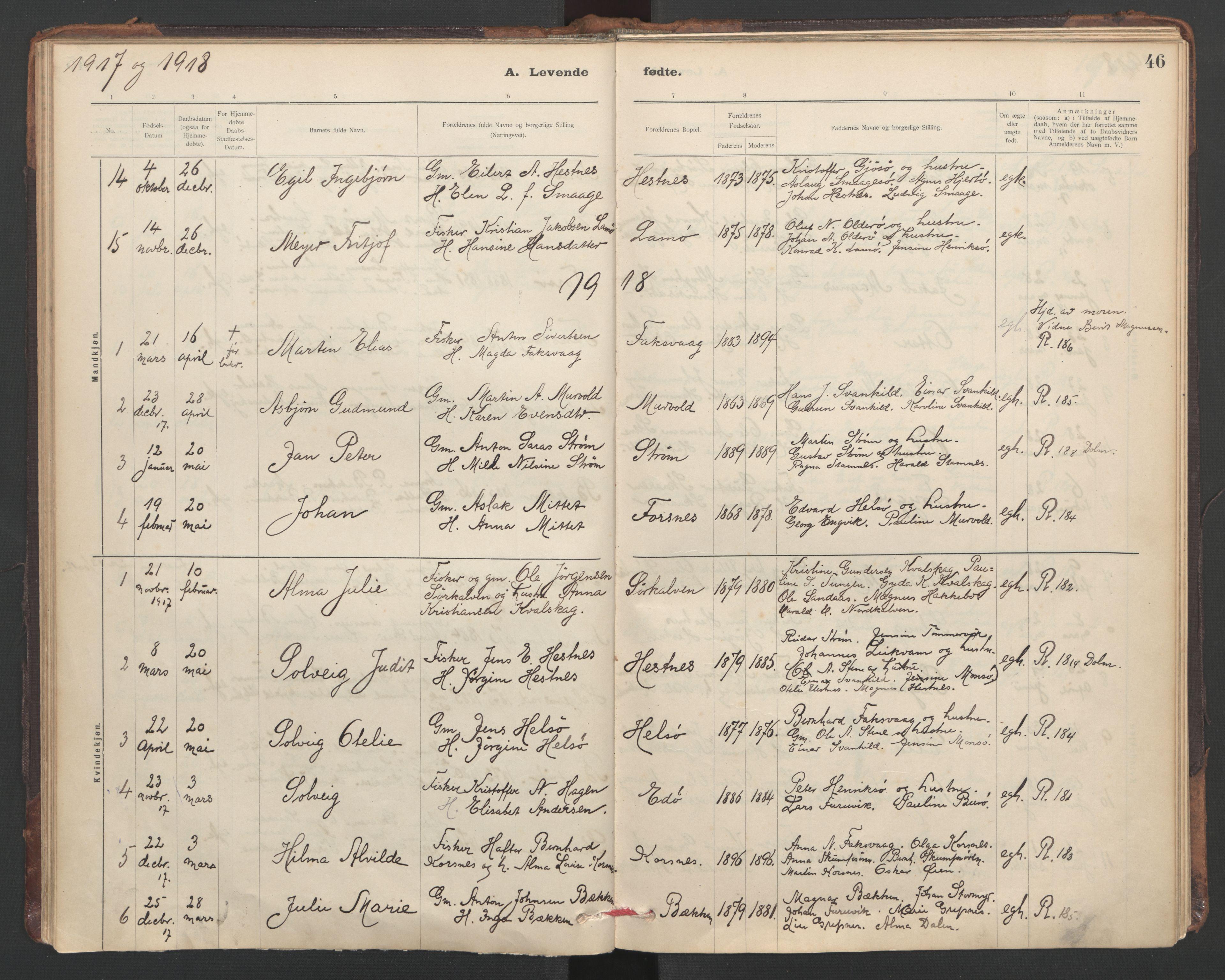 SAT, Ministerialprotokoller, klokkerbøker og fødselsregistre - Sør-Trøndelag, 635/L0552: Ministerialbok nr. 635A02, 1899-1919, s. 46