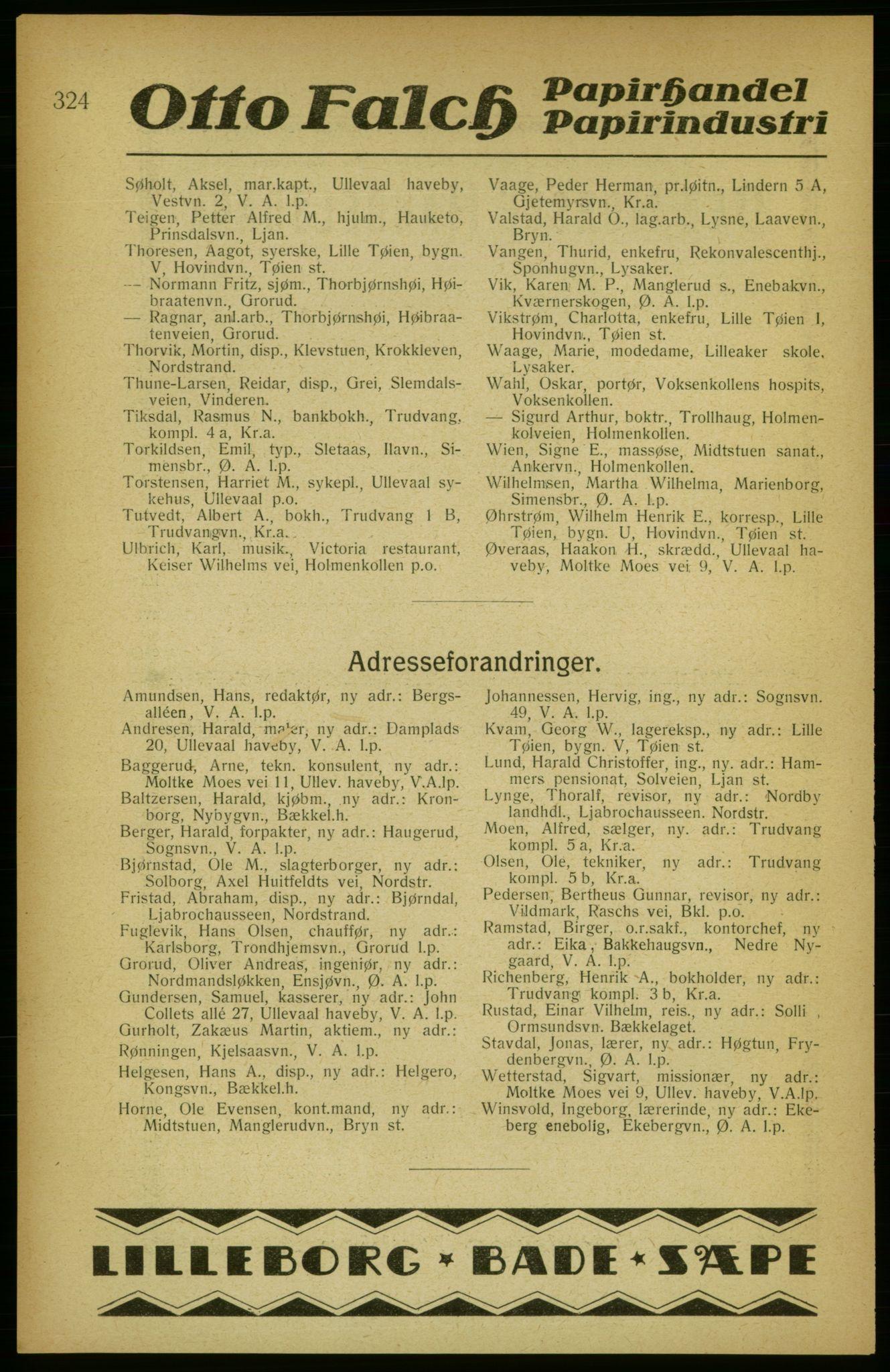PUBL, Aker adressebok/adressekalender, 1922, s. 324