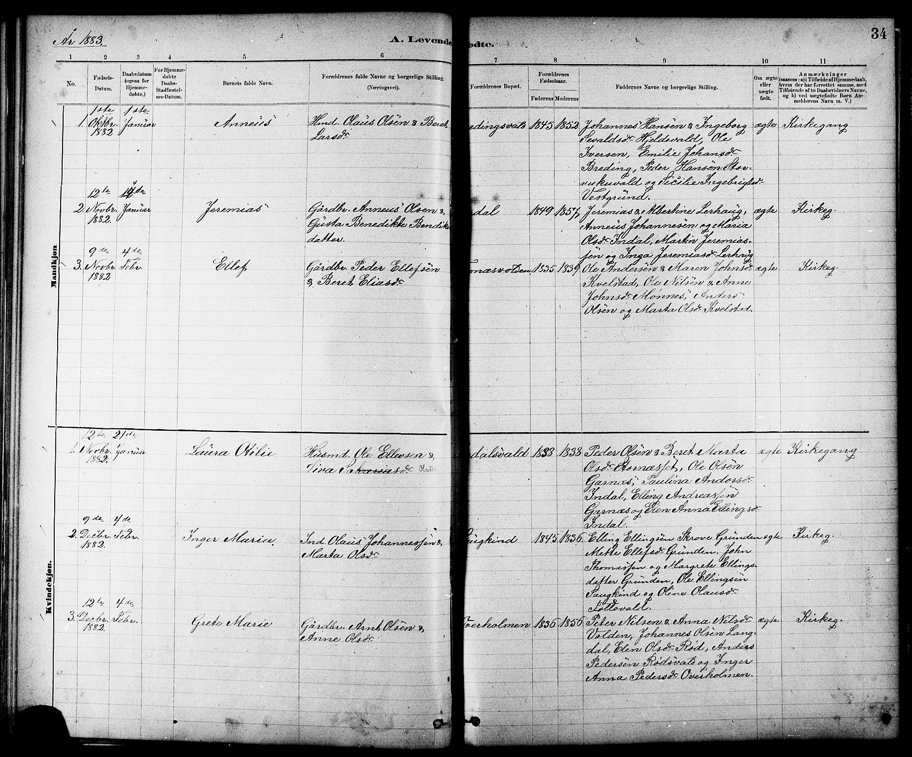 SAT, Ministerialprotokoller, klokkerbøker og fødselsregistre - Nord-Trøndelag, 724/L0267: Klokkerbok nr. 724C03, 1879-1898, s. 34