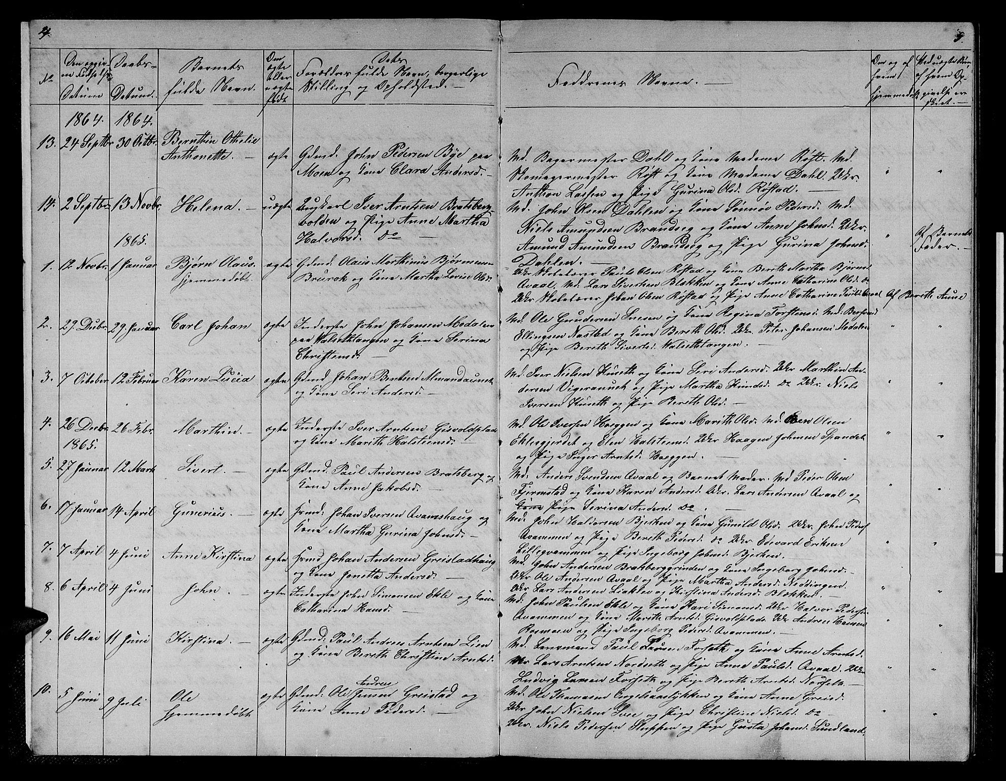 SAT, Ministerialprotokoller, klokkerbøker og fødselsregistre - Sør-Trøndelag, 608/L0340: Klokkerbok nr. 608C06, 1864-1889, s. 4-5