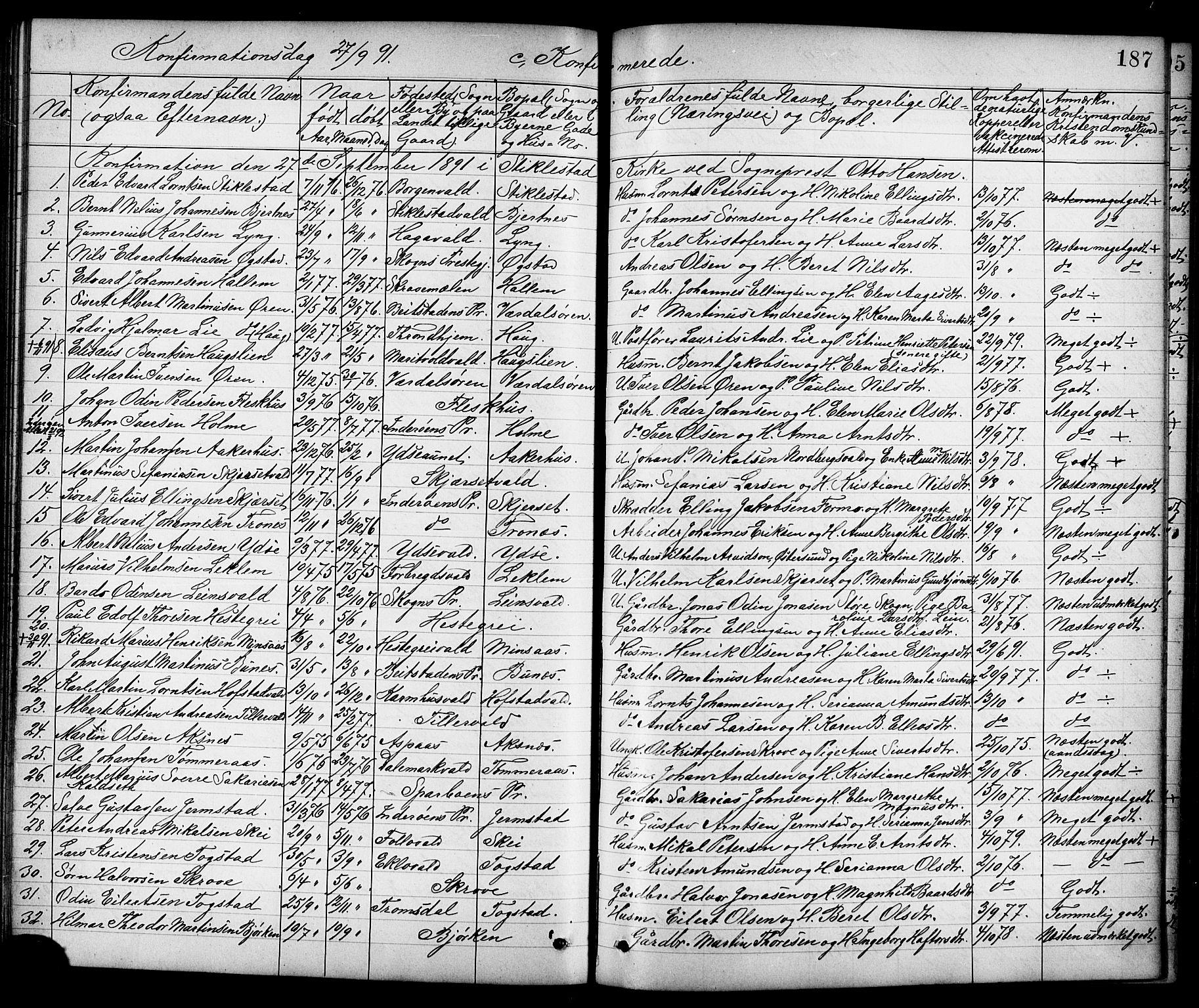 SAT, Ministerialprotokoller, klokkerbøker og fødselsregistre - Nord-Trøndelag, 723/L0257: Klokkerbok nr. 723C05, 1890-1907, s. 187
