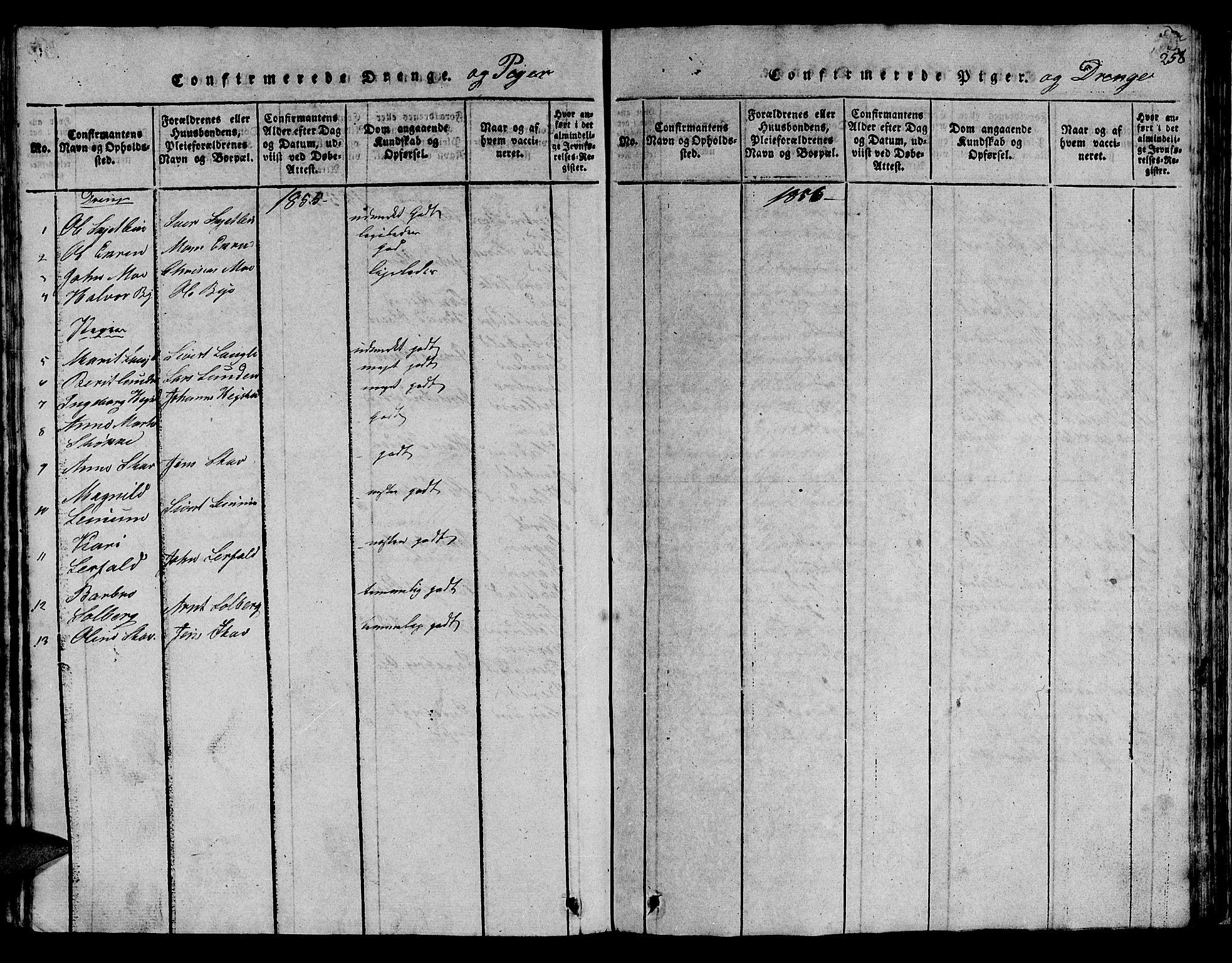 SAT, Ministerialprotokoller, klokkerbøker og fødselsregistre - Sør-Trøndelag, 613/L0393: Klokkerbok nr. 613C01, 1816-1886, s. 258