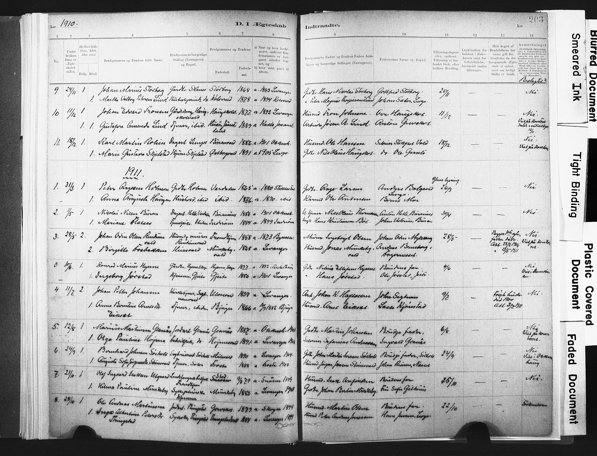 SAT, Ministerialprotokoller, klokkerbøker og fødselsregistre - Nord-Trøndelag, 721/L0207: Ministerialbok nr. 721A02, 1880-1911, s. 203