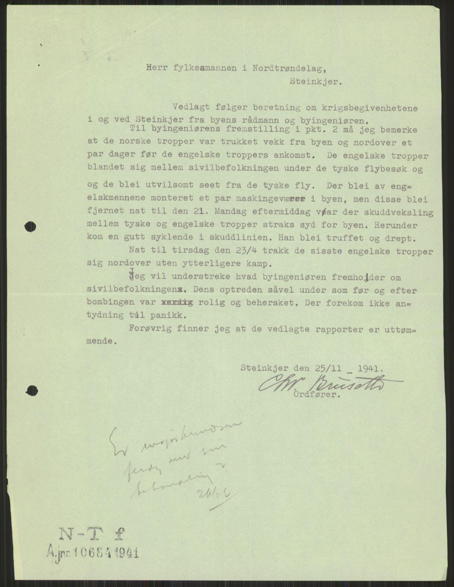 RA, Forsvaret, Forsvarets krigshistoriske avdeling, Y/Ya/L0016: II-C-11-31 - Fylkesmenn.  Rapporter om krigsbegivenhetene 1940., 1940, s. 575