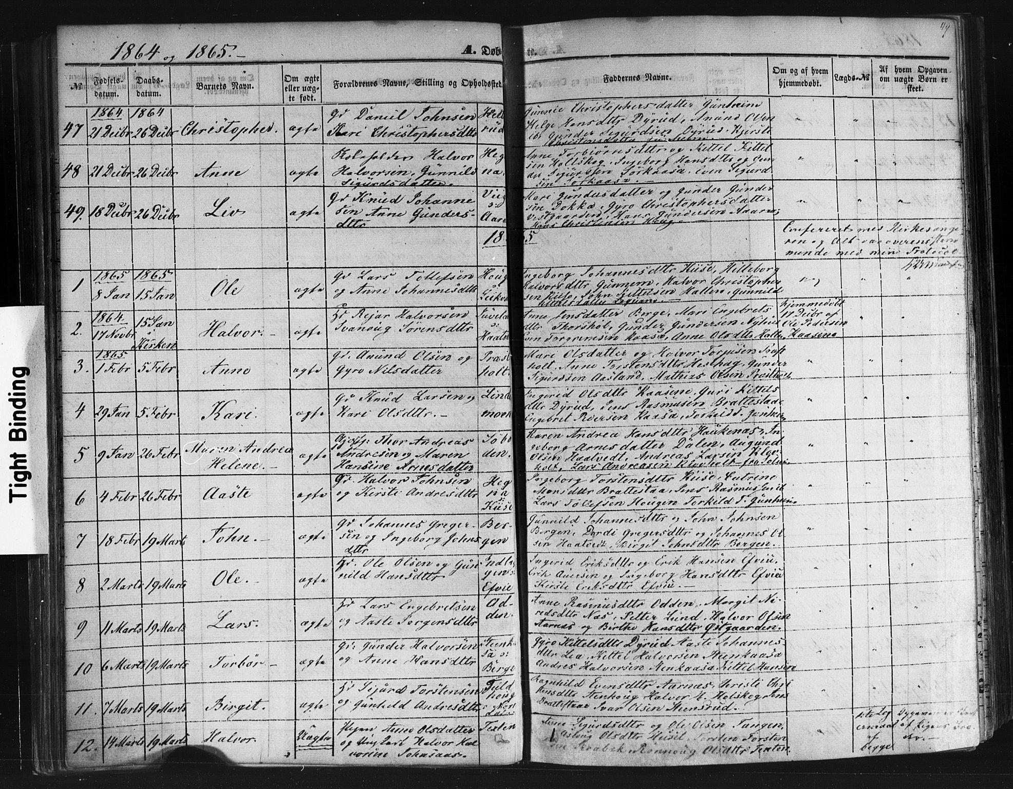 SAKO, Sauherad kirkebøker, F/Fb/L0001: Ministerialbok nr. II 1, 1851-1877, s. 49