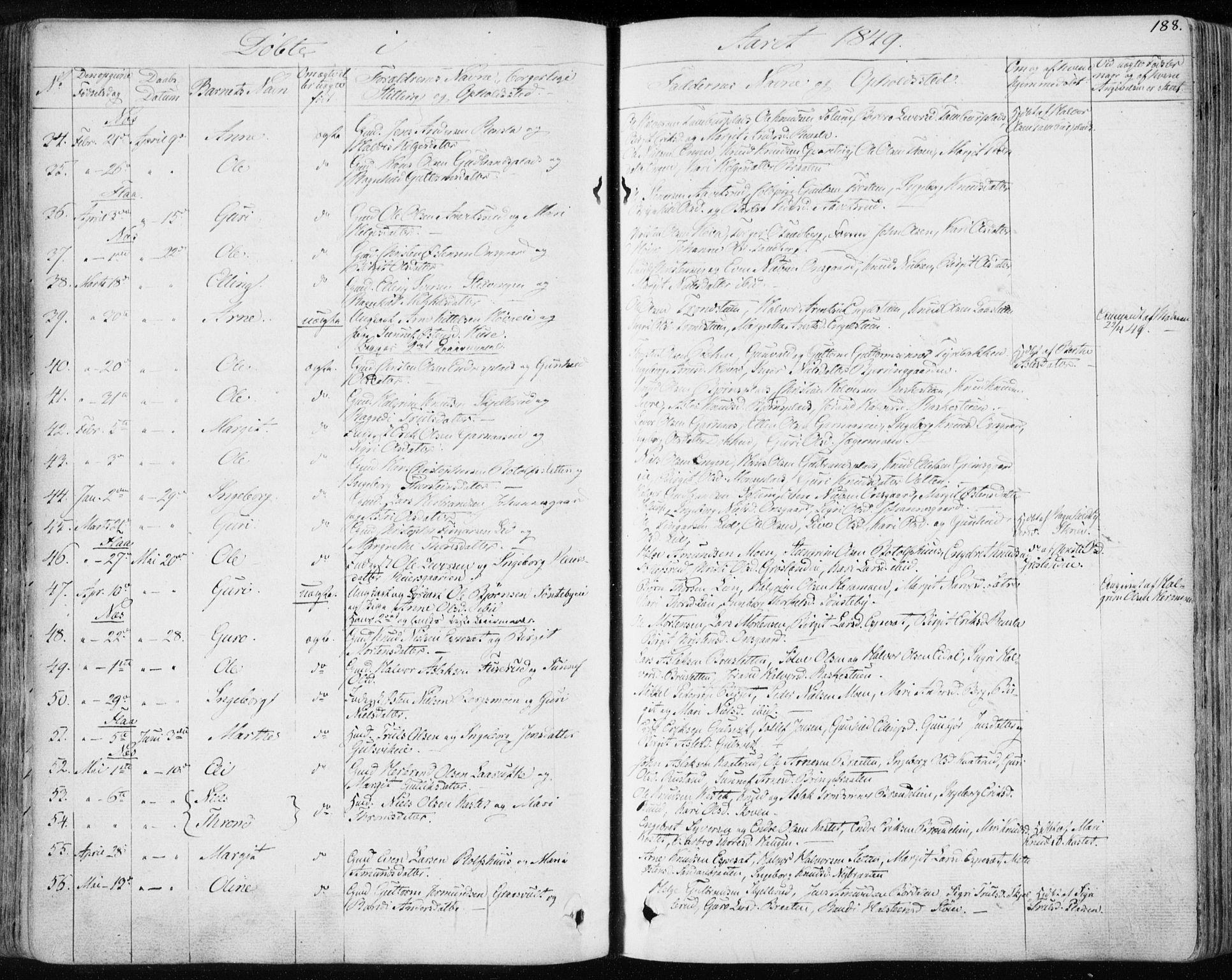 SAKO, Nes kirkebøker, F/Fa/L0009: Ministerialbok nr. 9, 1834-1863, s. 188