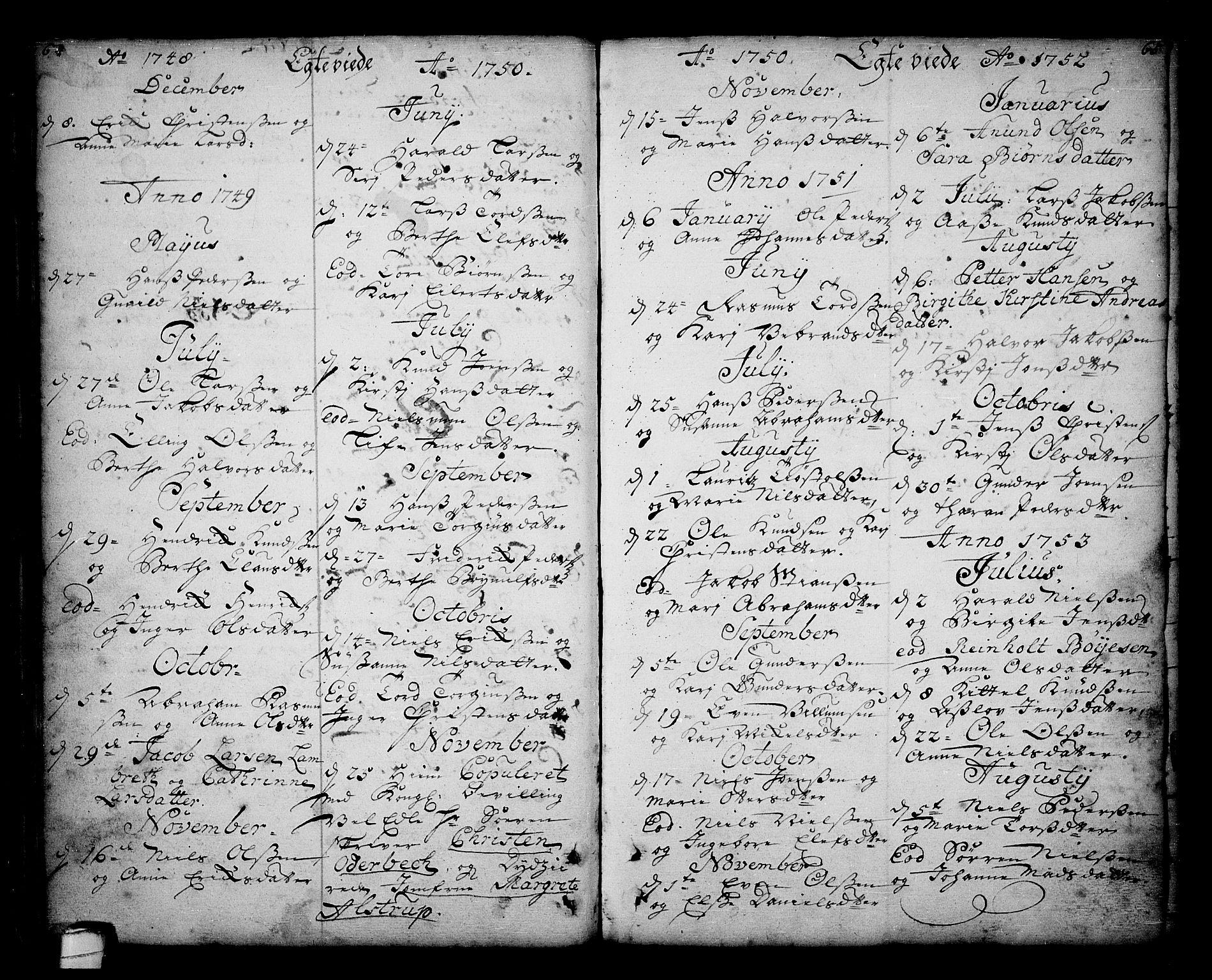 SAKO, Sannidal kirkebøker, F/Fa/L0001: Ministerialbok nr. 1, 1702-1766, s. 64-65