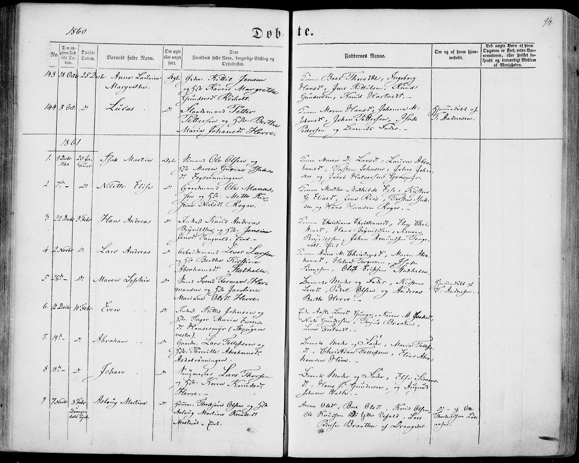 SAKO, Bamble kirkebøker, F/Fa/L0005: Ministerialbok nr. I 5, 1854-1869, s. 94