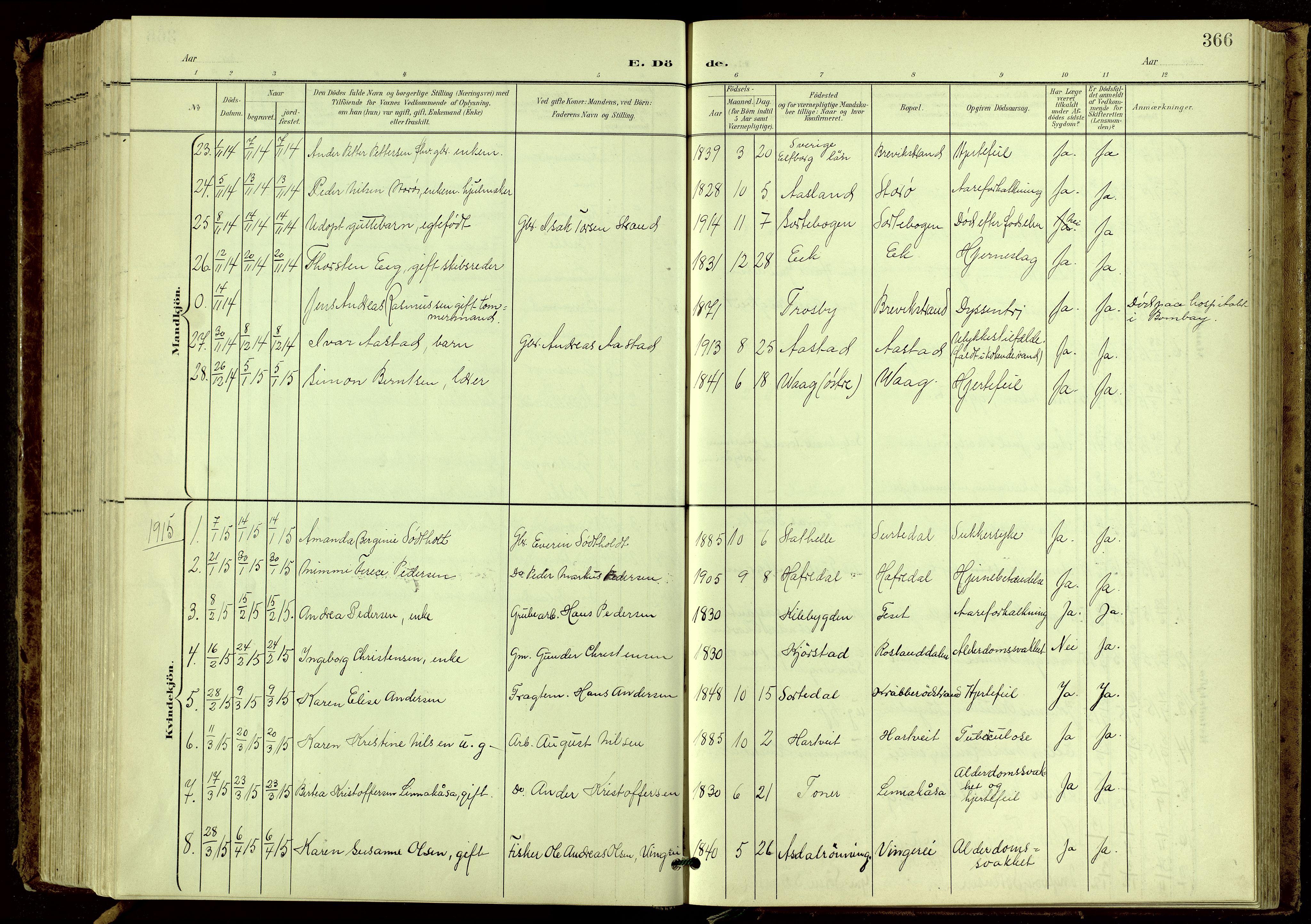 SAKO, Bamble kirkebøker, G/Ga/L0010: Klokkerbok nr. I 10, 1901-1919, s. 366