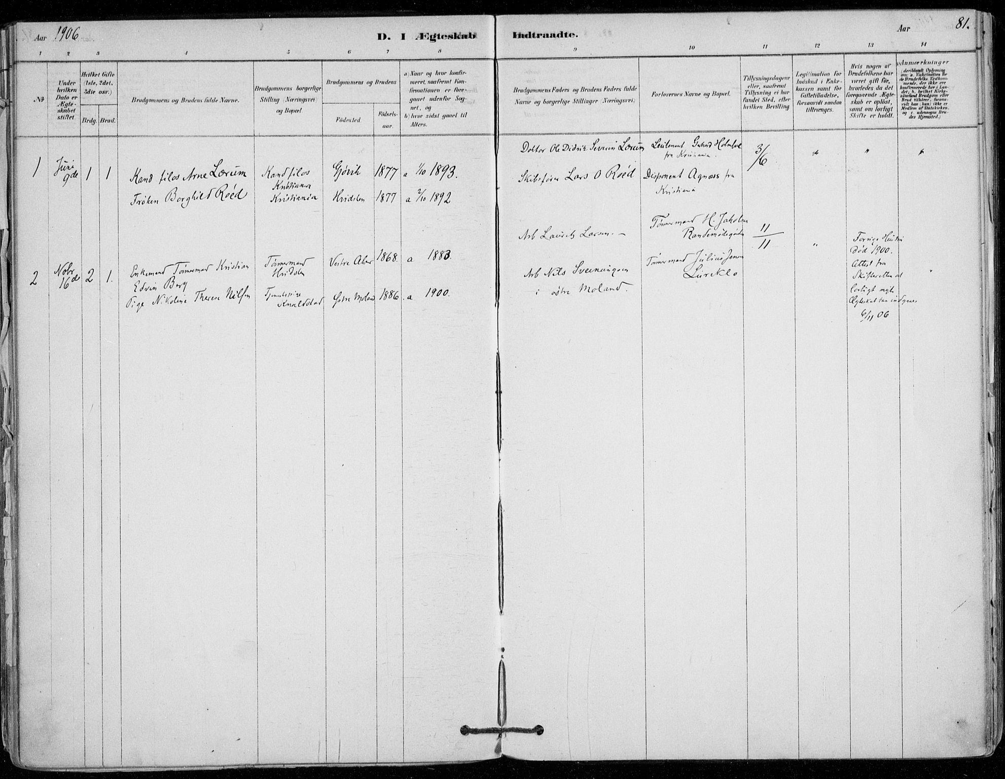 SAO, Vestby prestekontor Kirkebøker, F/Fd/L0001: Ministerialbok nr. IV 1, 1878-1945, s. 81