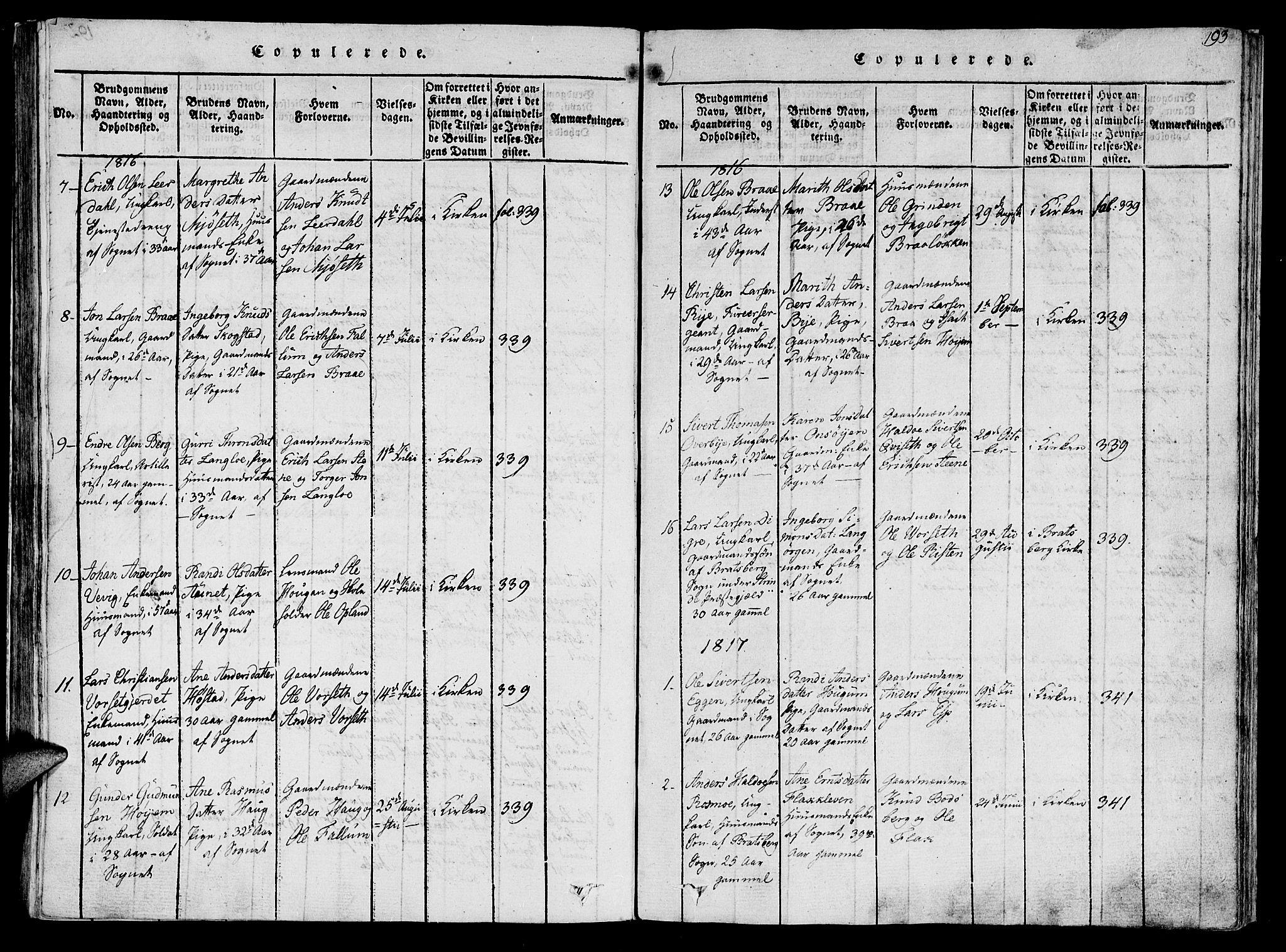 SAT, Ministerialprotokoller, klokkerbøker og fødselsregistre - Sør-Trøndelag, 612/L0372: Ministerialbok nr. 612A06 /1, 1816-1828, s. 193