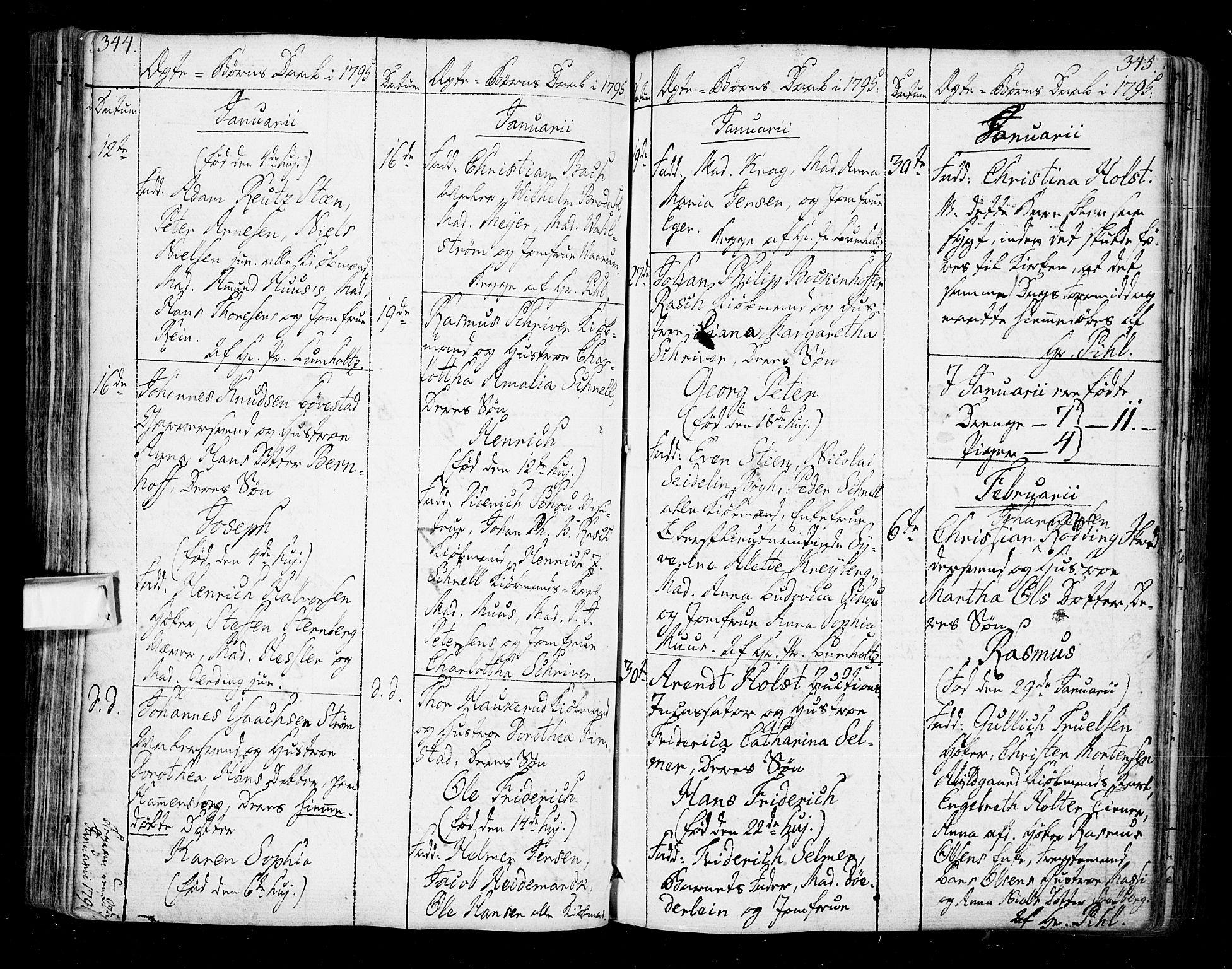 SAO, Oslo domkirke Kirkebøker, F/Fa/L0005: Ministerialbok nr. 5, 1787-1806, s. 344-345