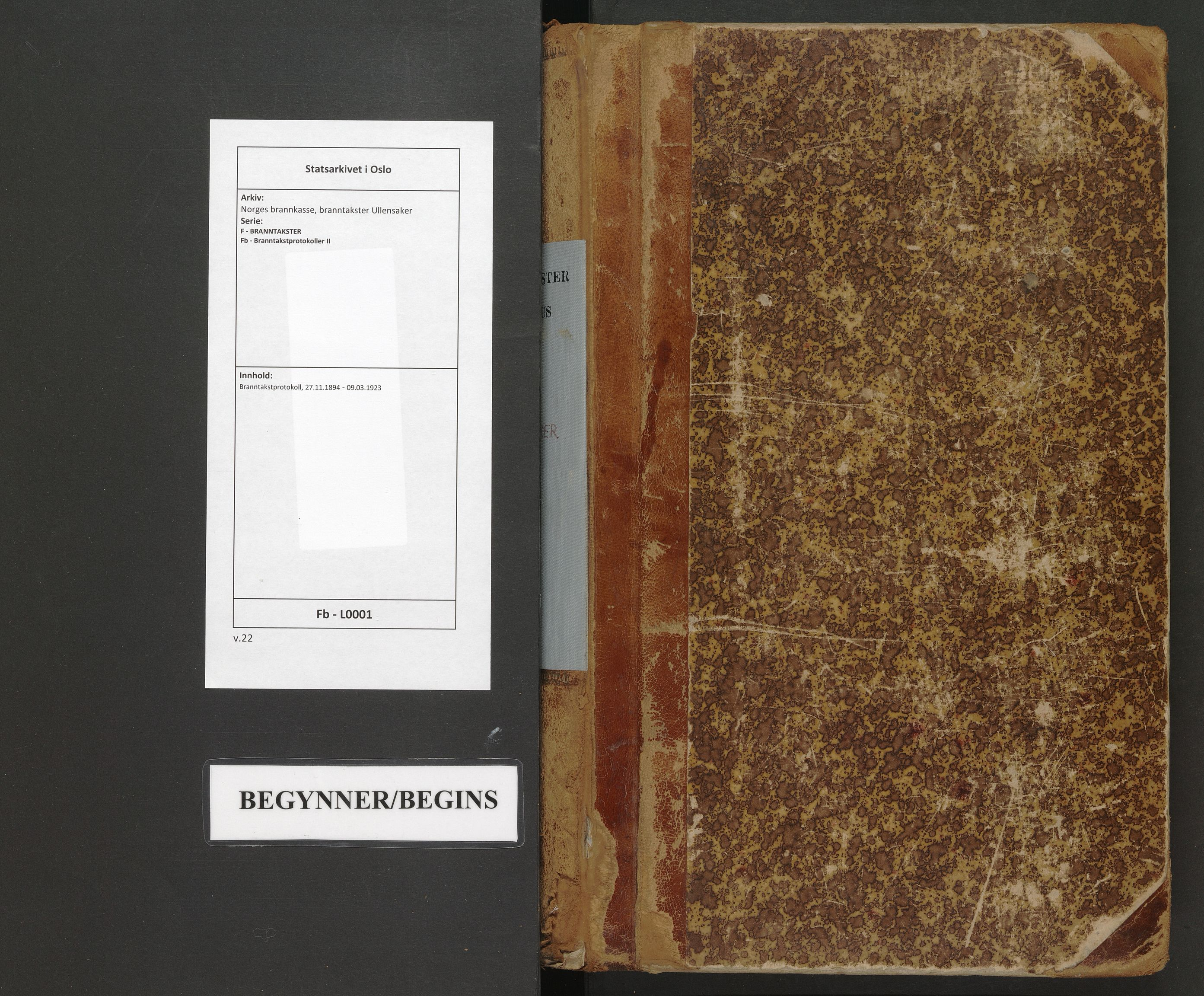 SAO, Norges brannkasse, branntakster Ullensaker, F/Fb/L0001: Branntakstprotokoll, 1894-1923