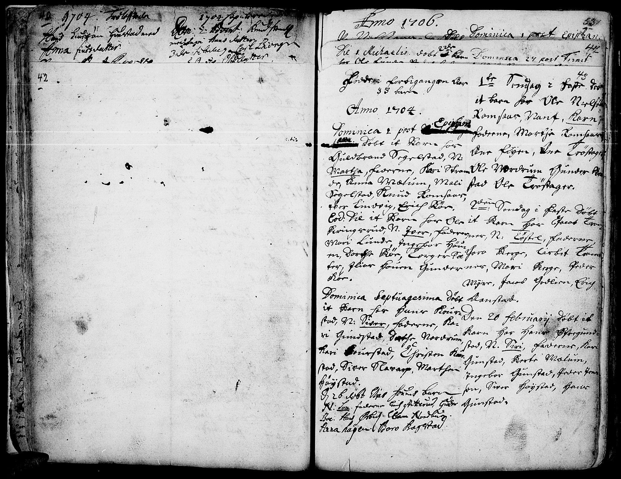 SAH, Ringebu prestekontor, Ministerialbok nr. 1, 1696-1733, s. 42-43