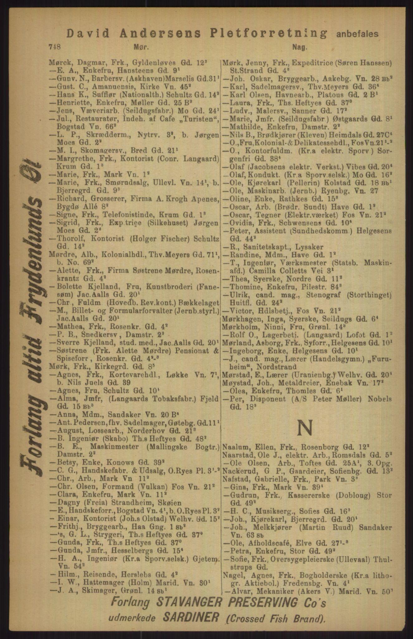RA, Kristiania adressebok (publikasjon)*, 1911, s. 748