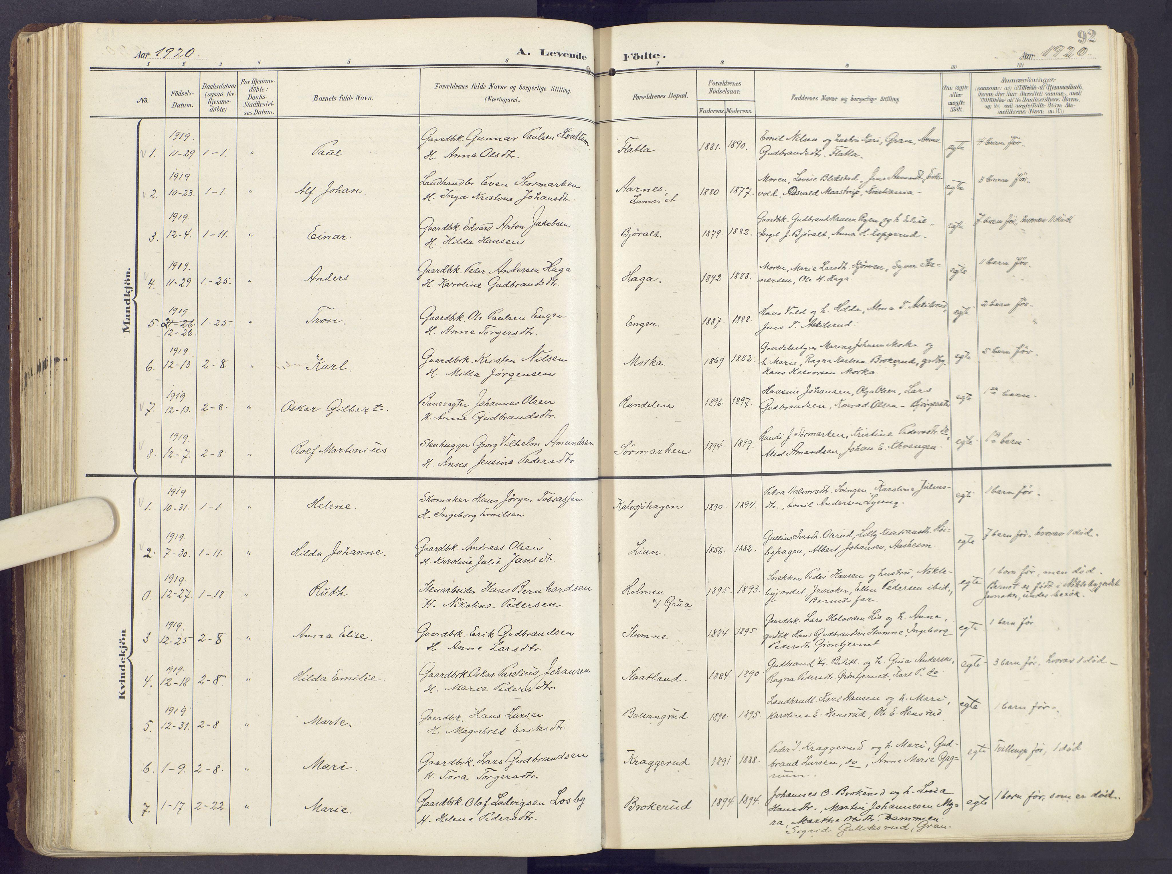 SAH, Lunner prestekontor, H/Ha/Haa/L0001: Ministerialbok nr. 1, 1907-1922, s. 92