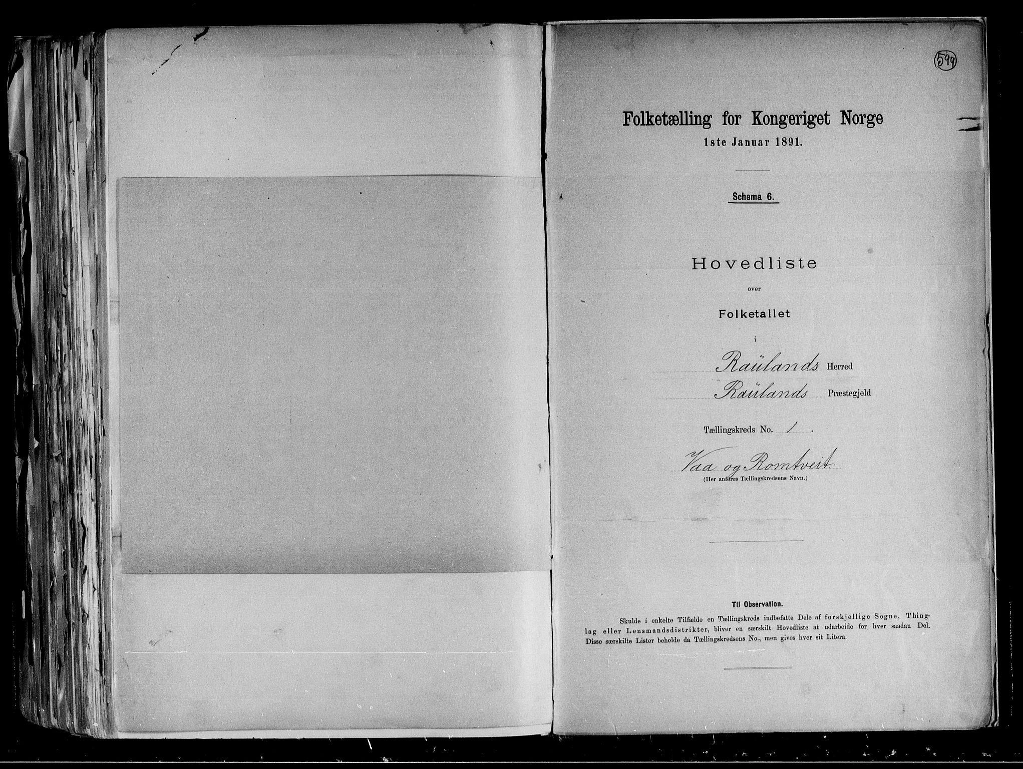 RA, Folketelling 1891 for 0835 Rauland herred, 1891, s. 5