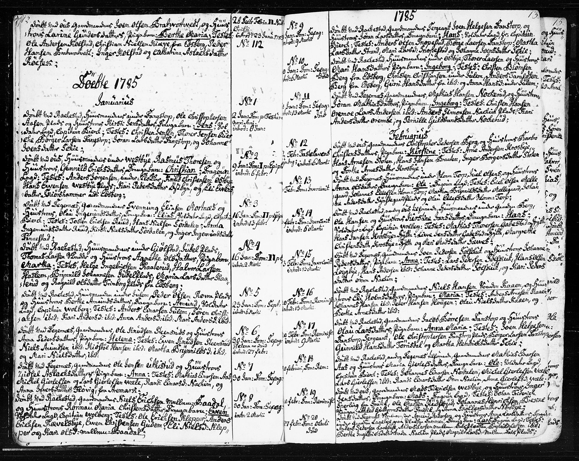 SAO, Rakkestad prestekontor Kirkebøker, F/Fa/L0005: Ministerialbok nr. I 5, 1784-1814, s. 12-13