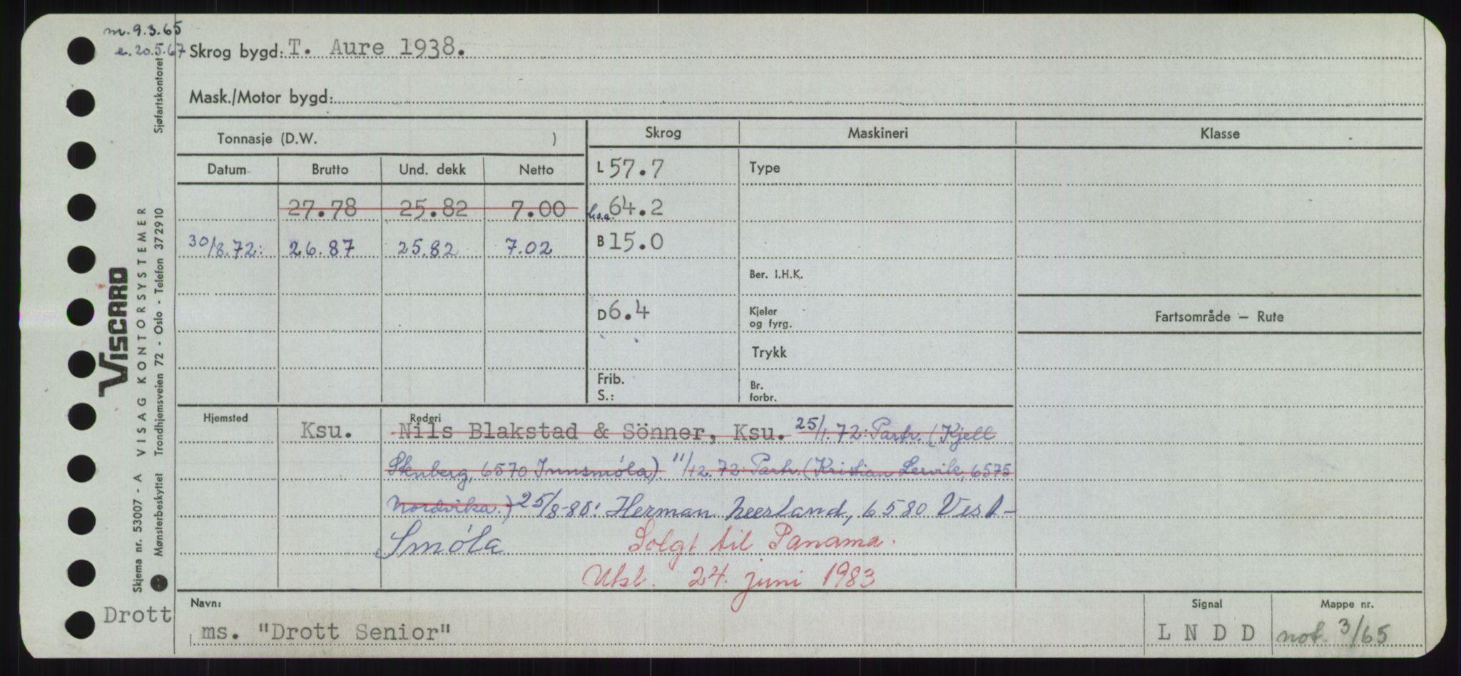 RA, Sjøfartsdirektoratet med forløpere, Skipsmålingen, H/Hd/L0008: Fartøy, C-D, s. 659