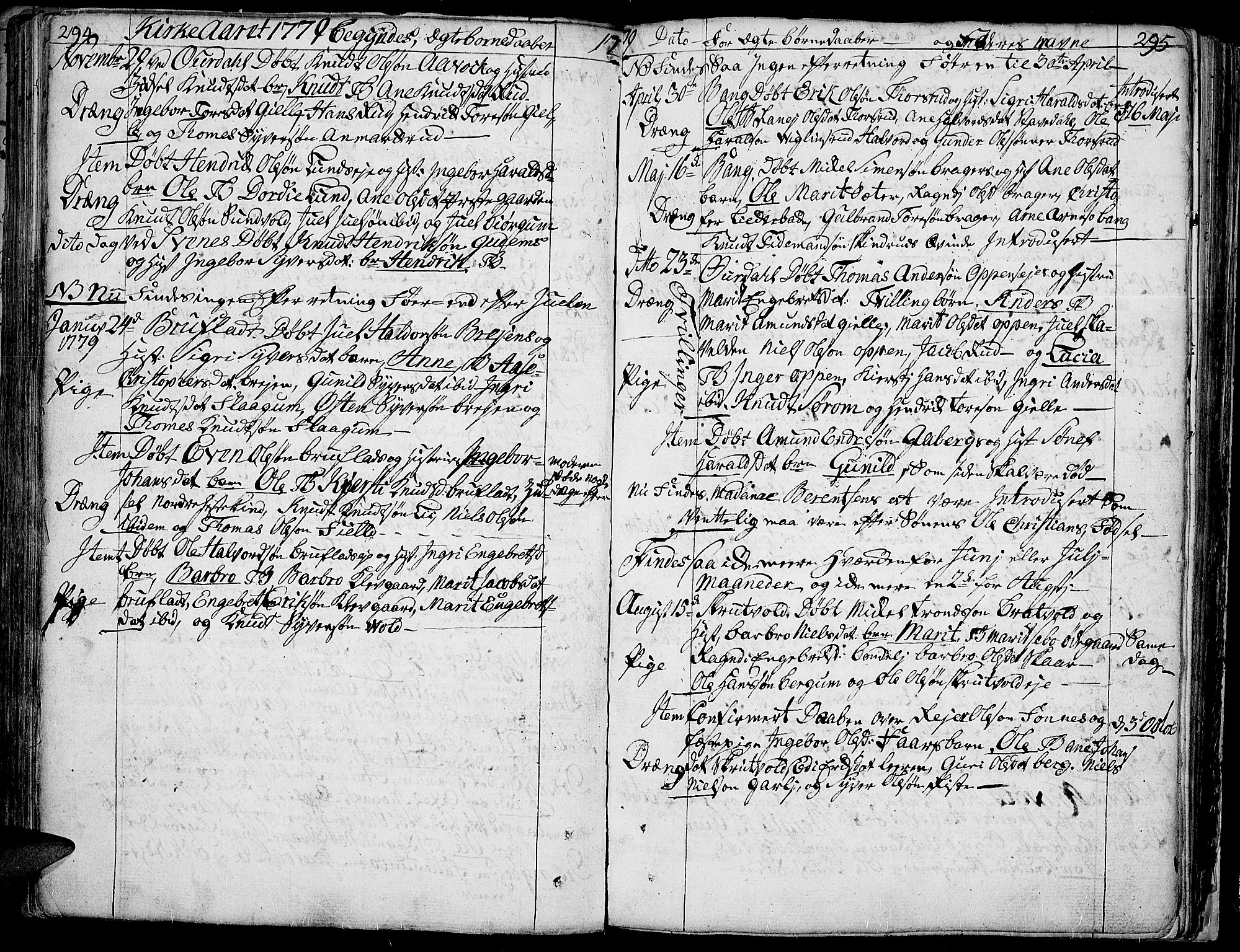 SAH, Aurdal prestekontor, Ministerialbok nr. 5, 1763-1781, s. 294-295