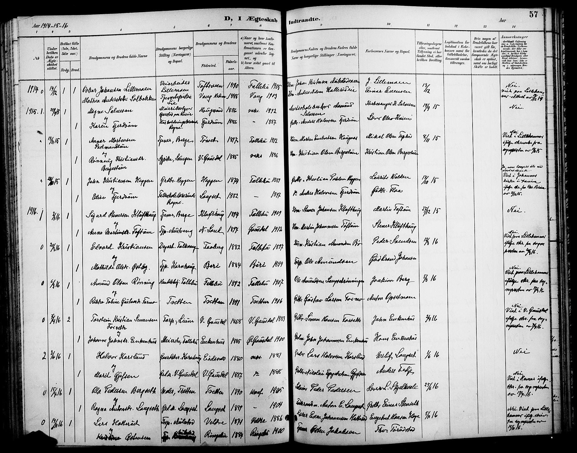 SAH, Østre Gausdal prestekontor, Klokkerbok nr. 3, 1894-1915, s. 57