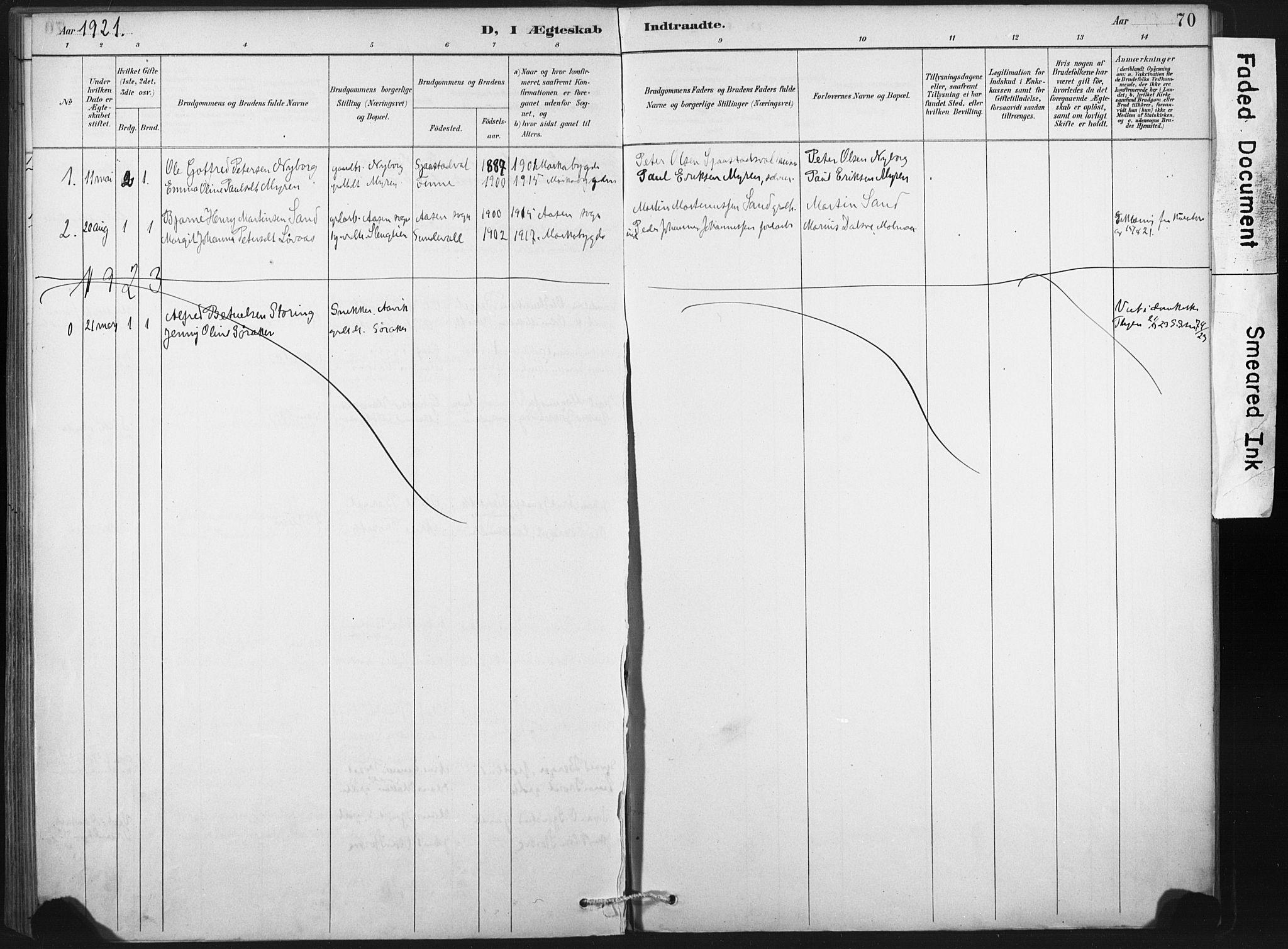SAT, Ministerialprotokoller, klokkerbøker og fødselsregistre - Nord-Trøndelag, 718/L0175: Ministerialbok nr. 718A01, 1890-1923, s. 70