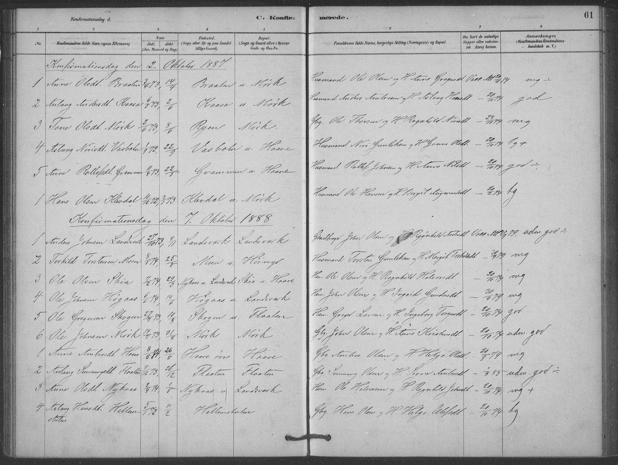SAKO, Heddal kirkebøker, F/Fb/L0002: Ministerialbok nr. II 2, 1878-1913, s. 61
