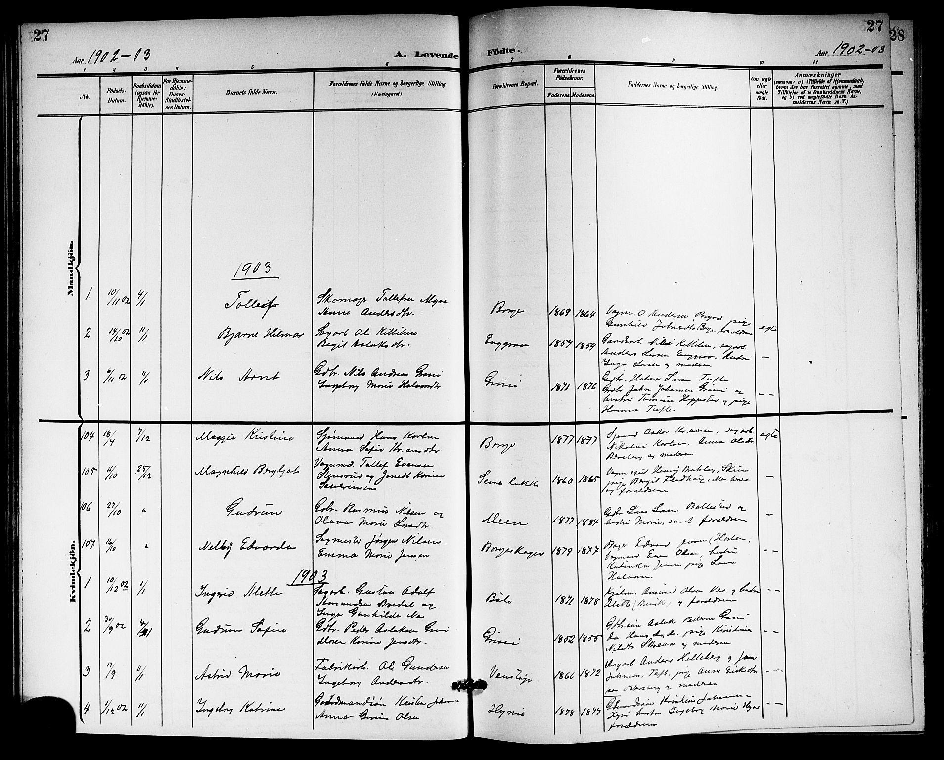 SAKO, Gjerpen kirkebøker, G/Ga/L0003: Klokkerbok nr. I 3, 1901-1919, s. 27